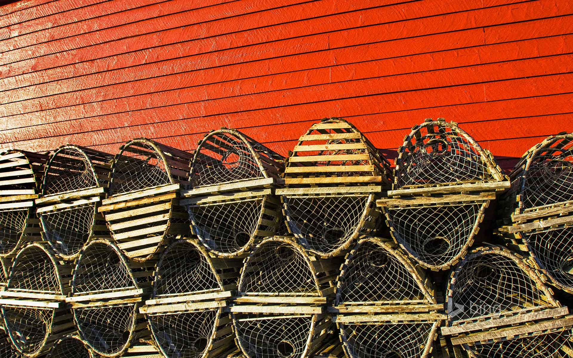 Lobster traps stacked against a red fishing shed in Newfoundland, Canada