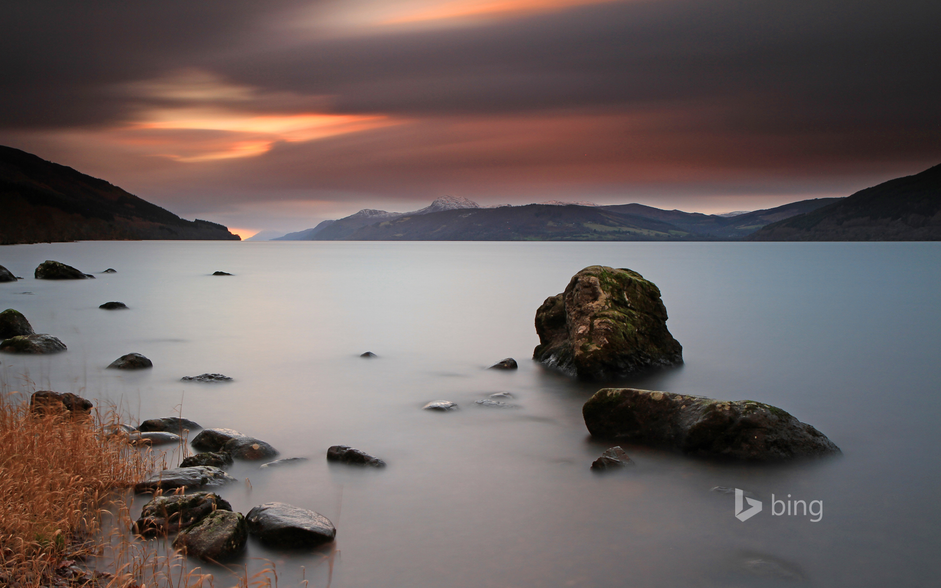 Loch Ness in the Scottish Highlands at sunset