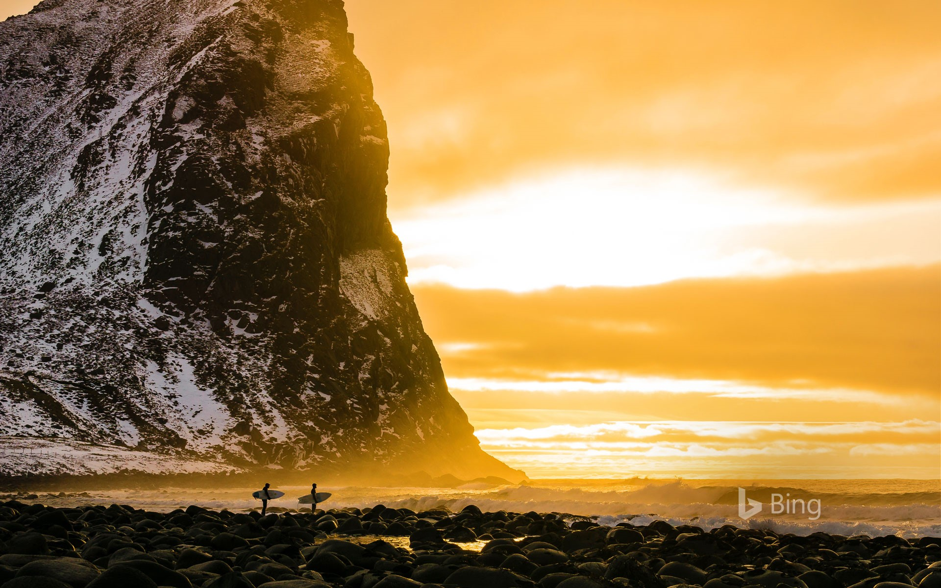 Surfers in the Lofoten Islands, Norway