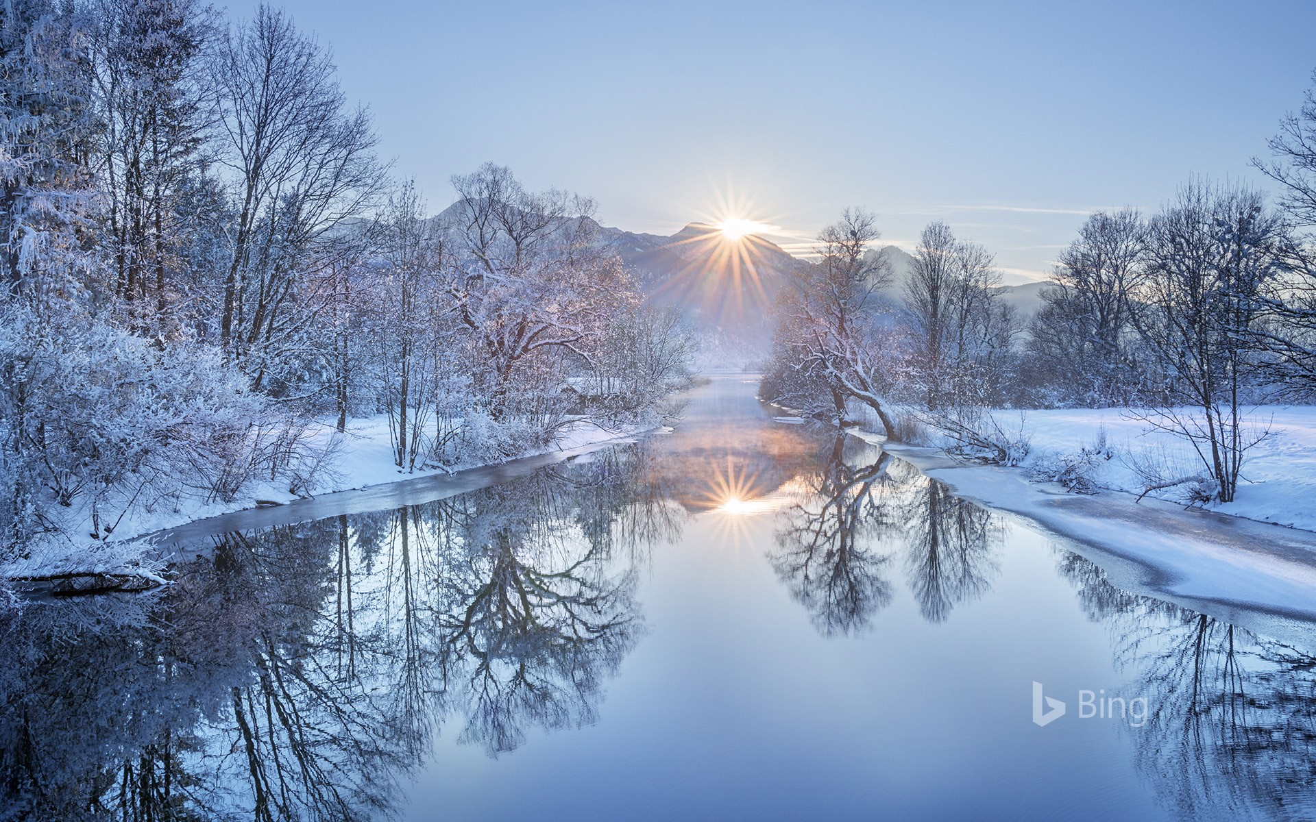 Loisach River with Heimgarten Mountain in Bavaria, Germany