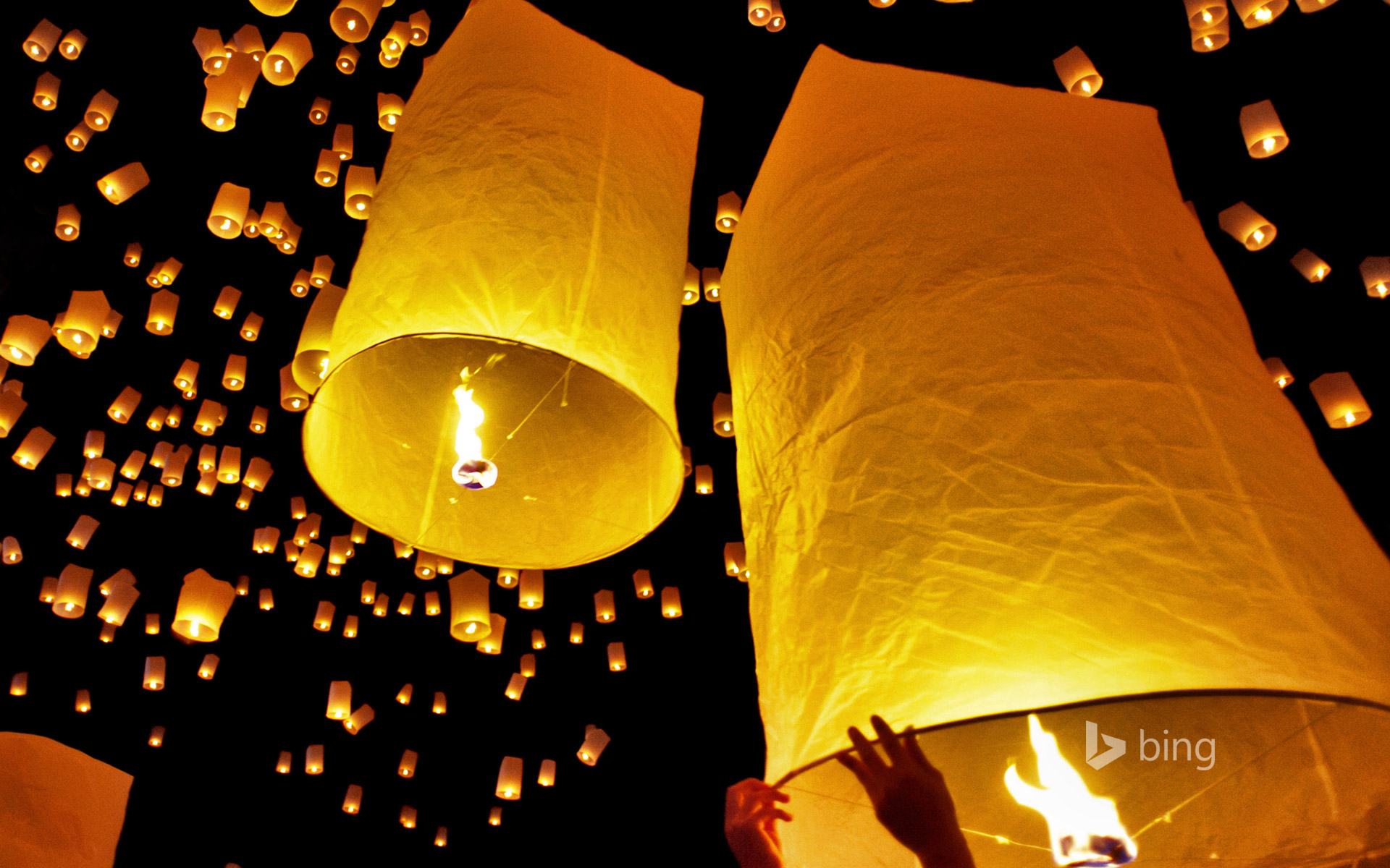 Fire lanterns released during Loi Krathong in Chiang Mai, Thailand