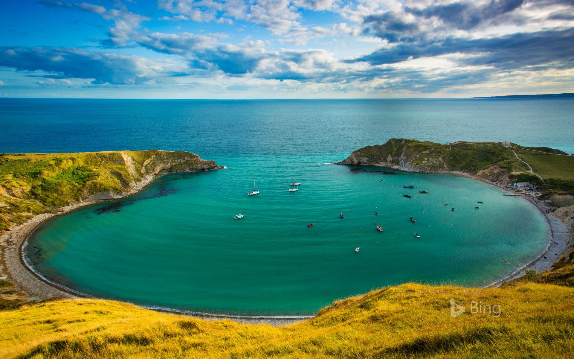 Lulworth Cove along the Jurassic Coast, Dorset, England