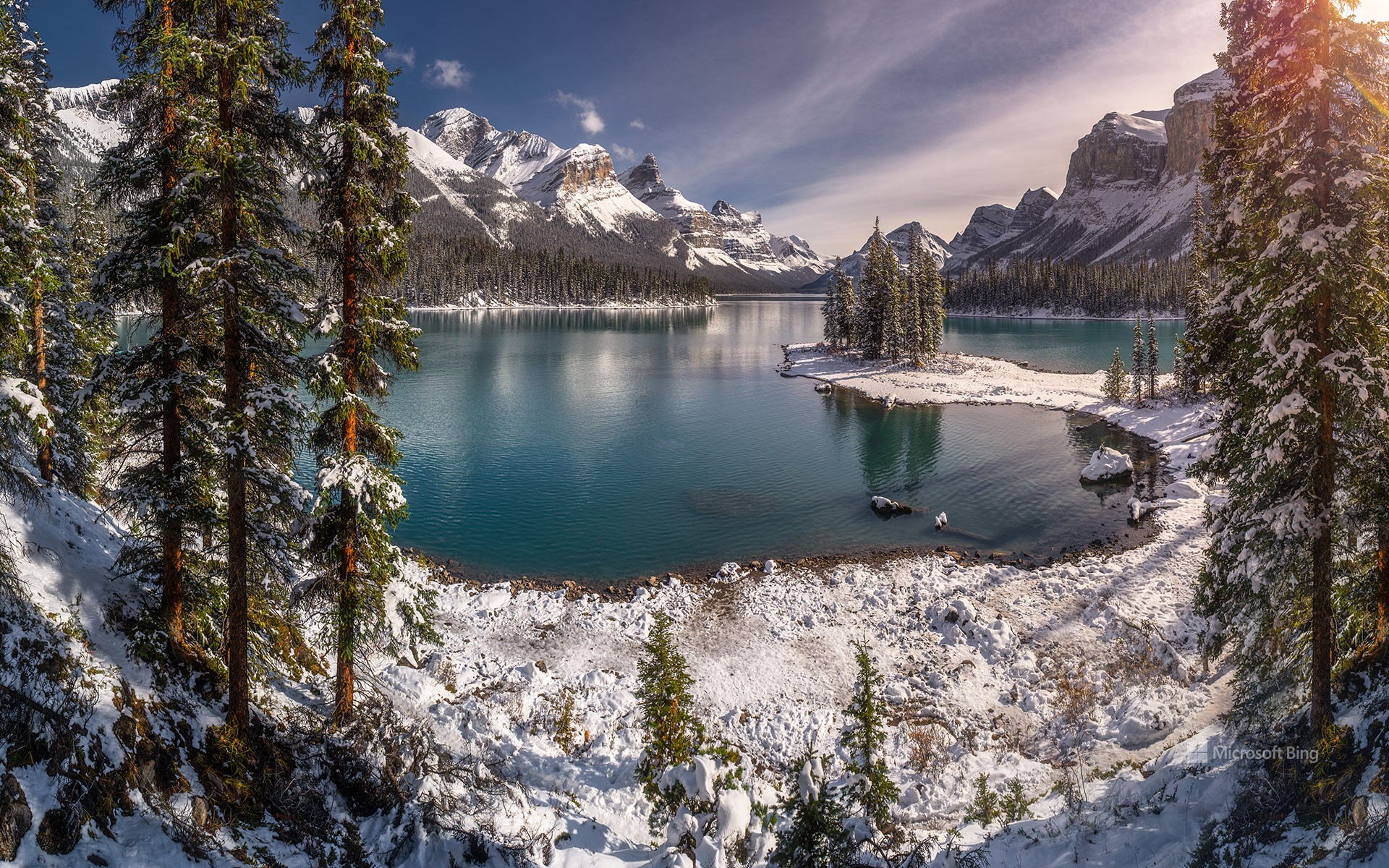 Spirit Island during winter season, Maligne Lake, Jasper National Park, Alberta