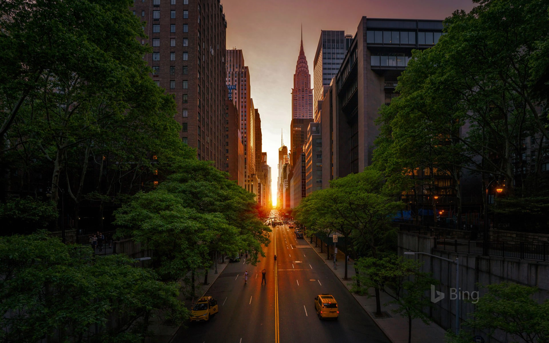 42nd Street with the Chrysler Building during Manhattanhenge in 2018, New York City