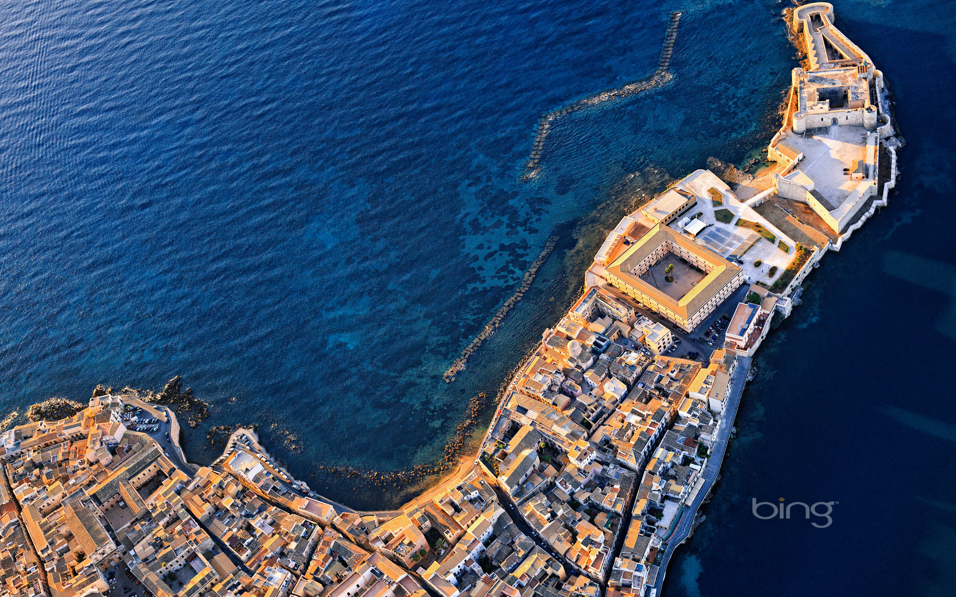 Aerial view of Castello Maniace in Syracuse, Sicily, Italy