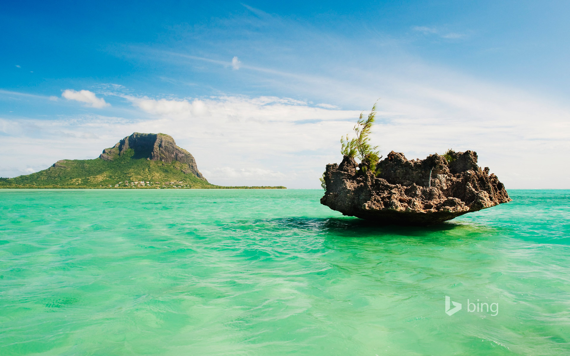Le Morne Brabant mountain and islet, Mauritius