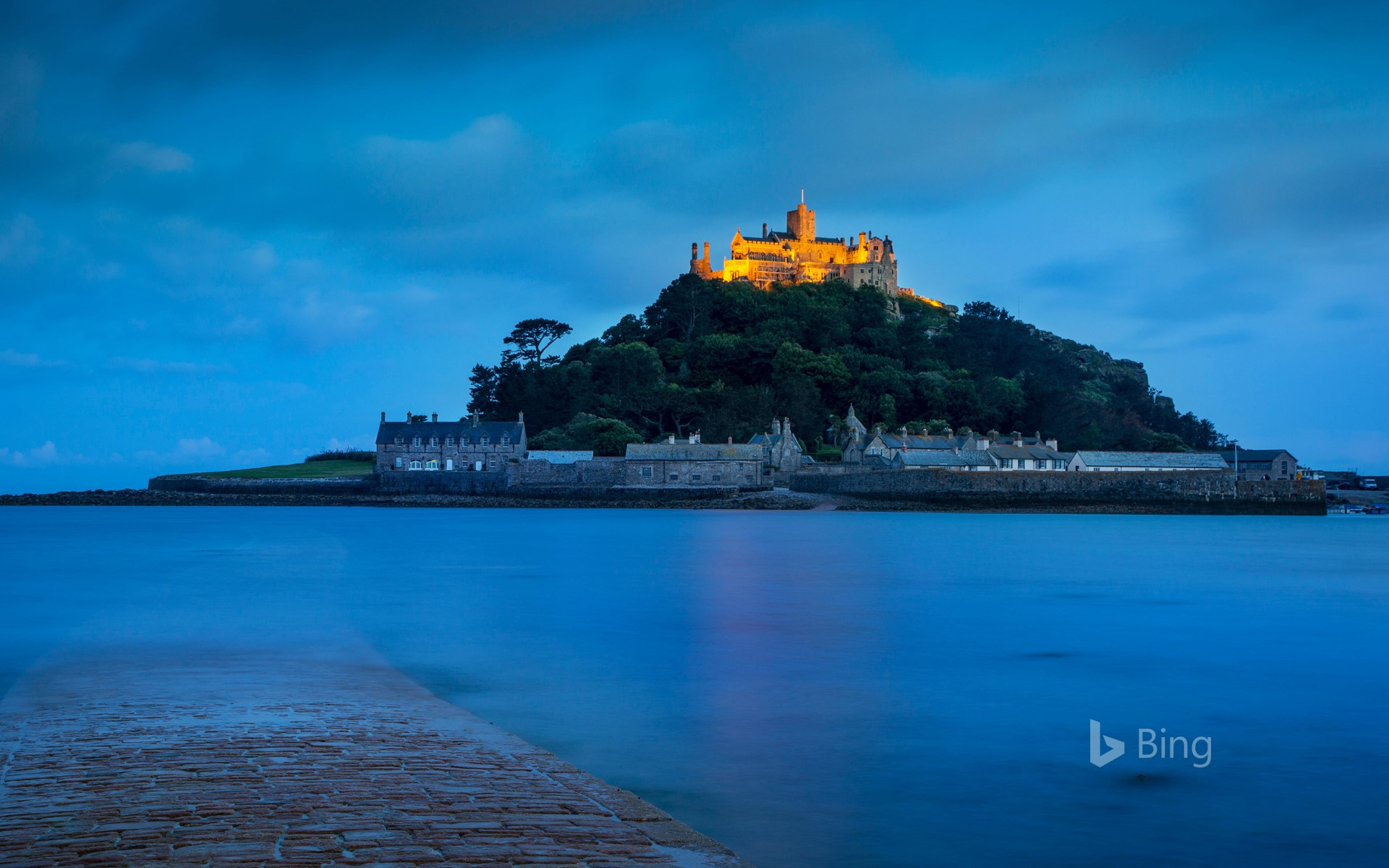 Twilight over St Michael's Mount in Mount's Bay, Cornwall, England