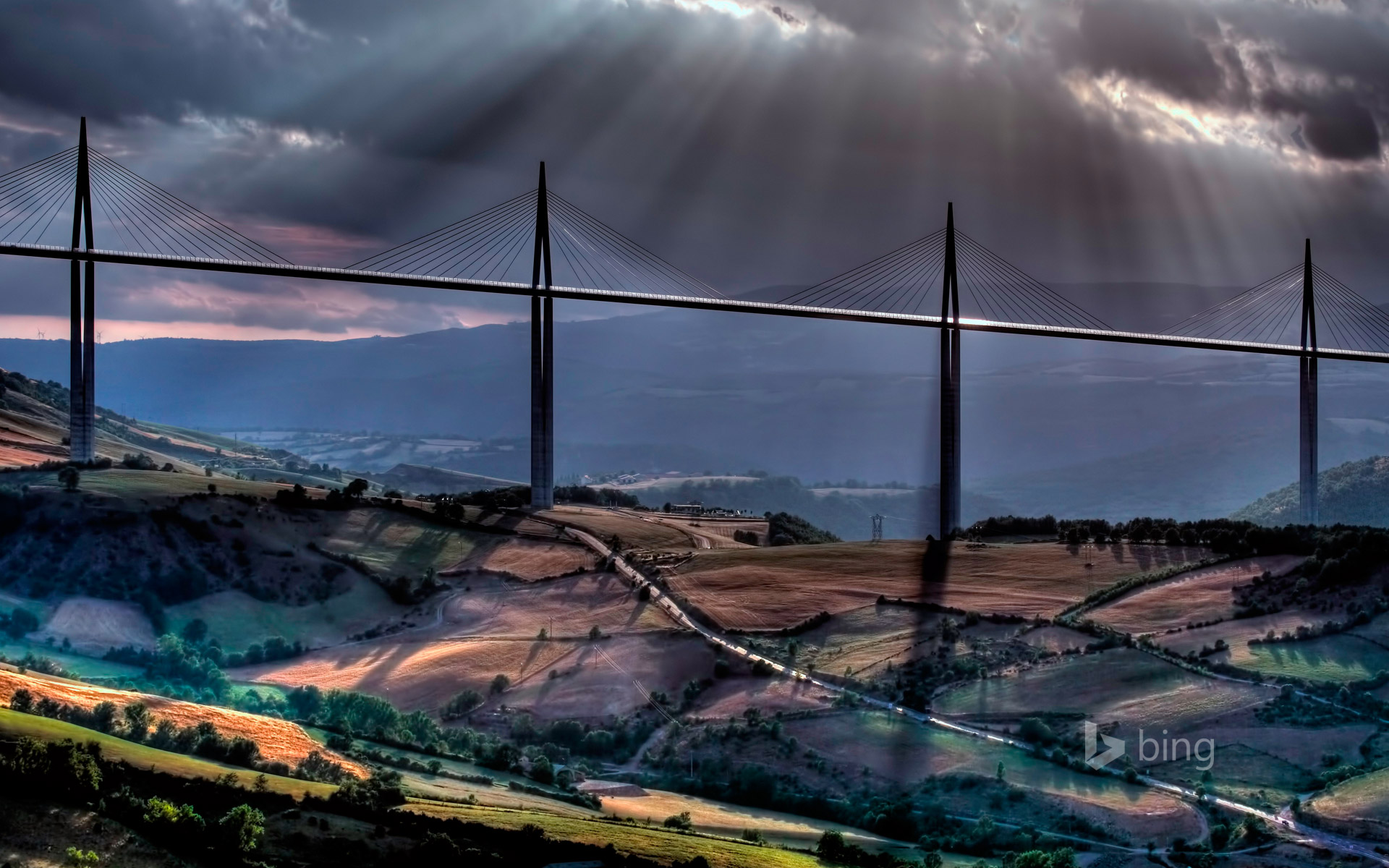 Millau Viaduct over the Tarn River Valley near Millau, France