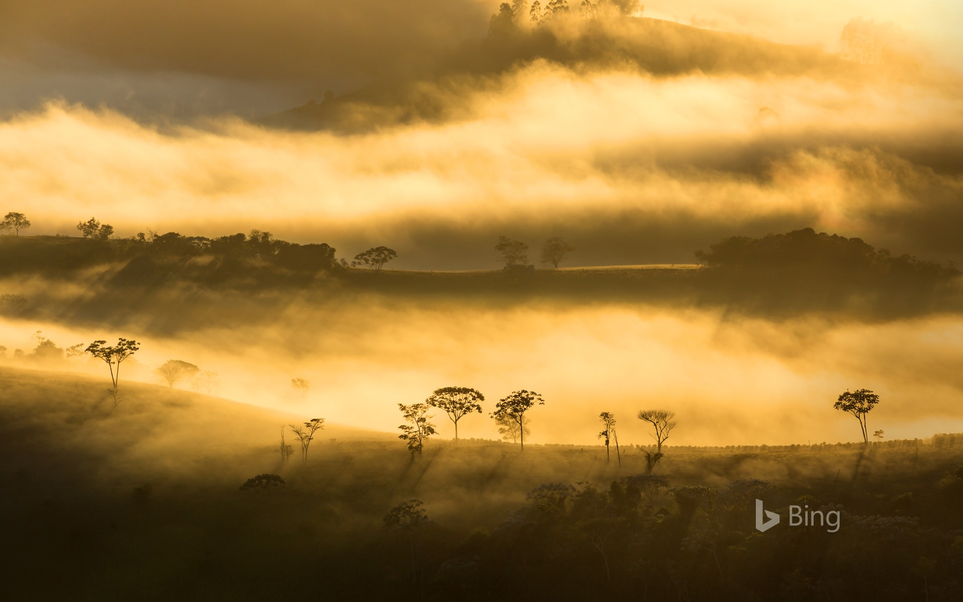 Fog over the mountains in Minas Gerais state, Brazil