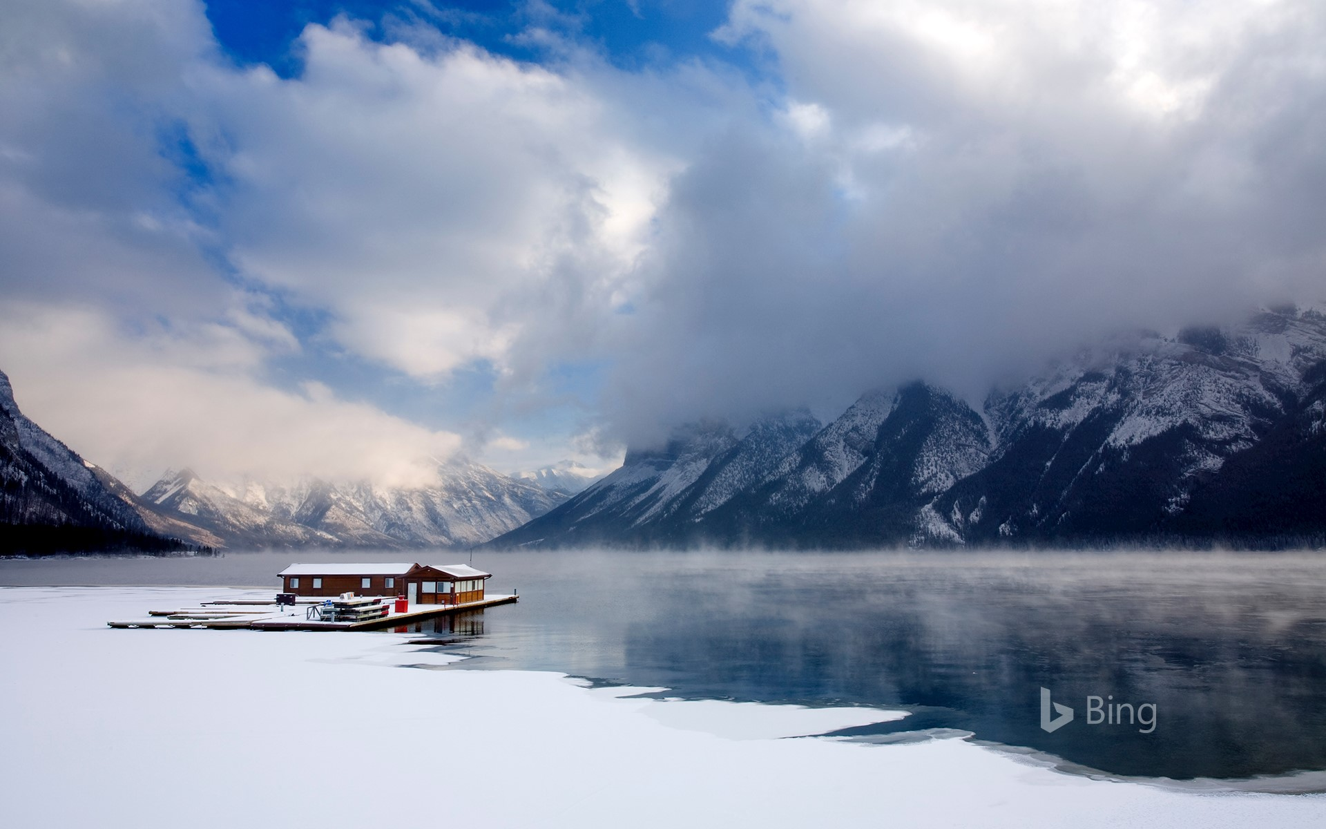 Boathouse on Lake Minnewanka in Banff National Park, Alberta, Canada