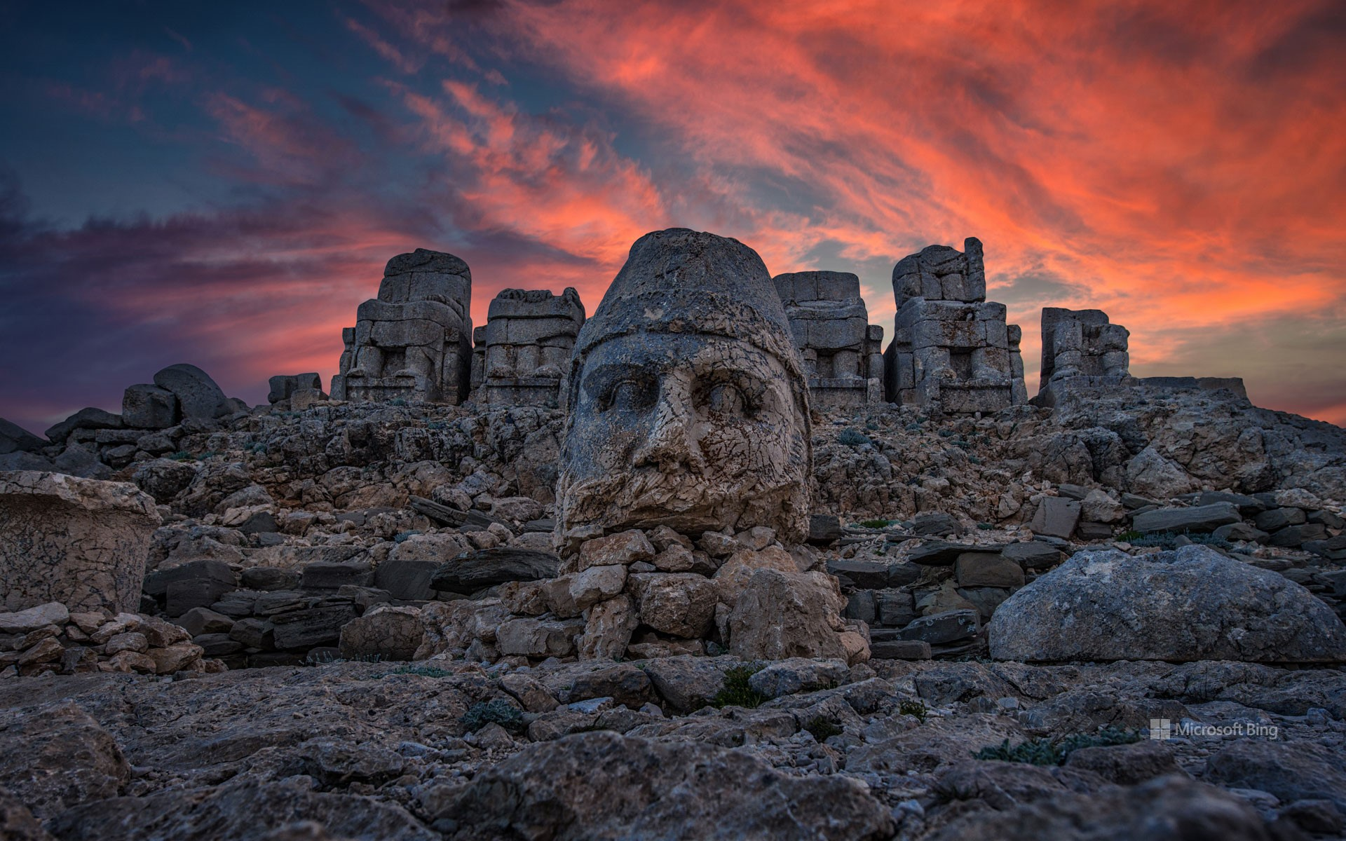 Colossal limestone statues on Mount Nemrut, Adıyaman, Turkey