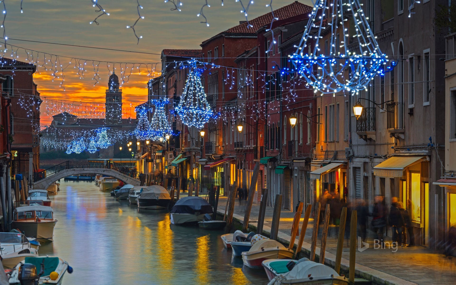 Holiday decorations on a canal in Murano, Italy