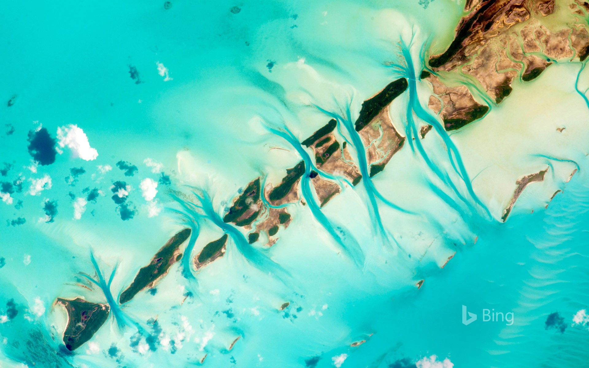 Small island cays west of Great Exuma in the Bahamas photographed from the International Space Station