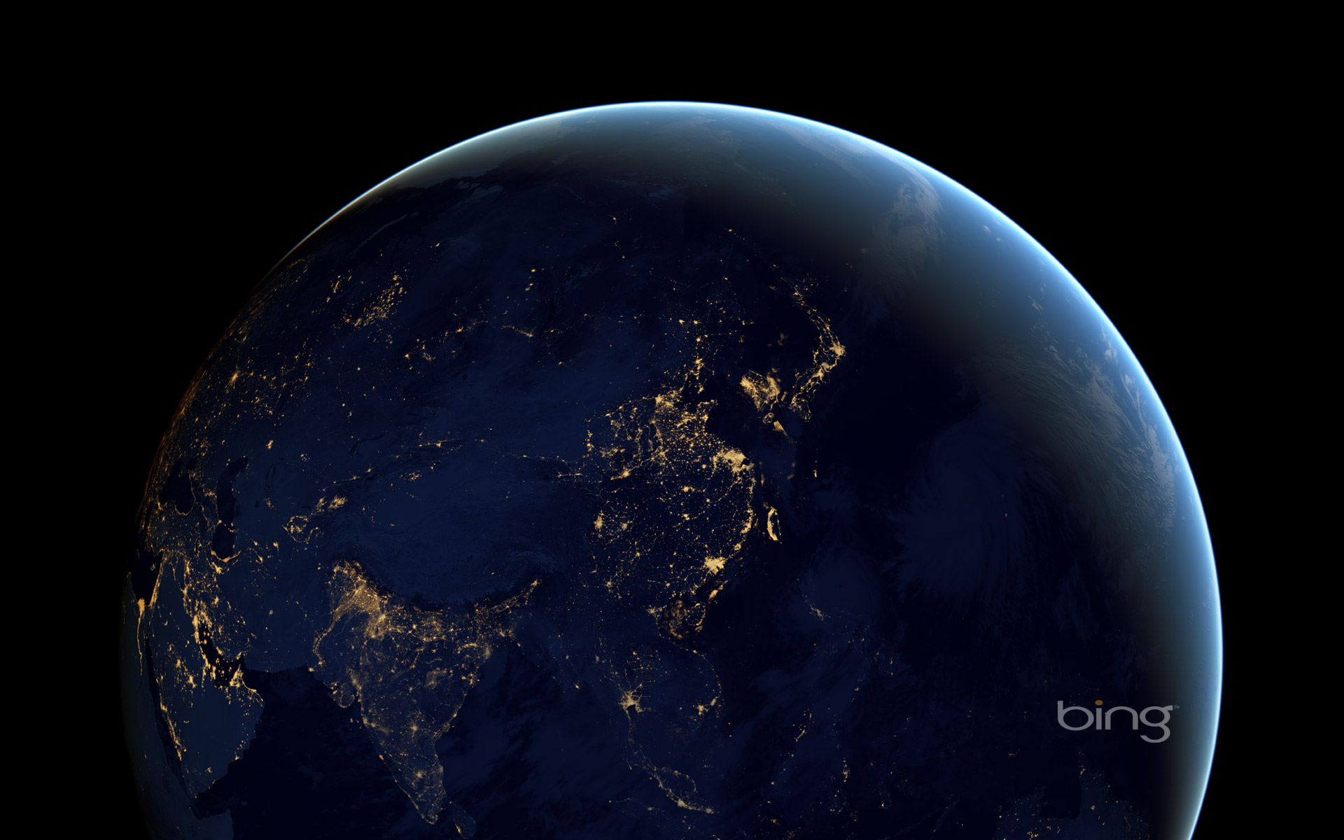 Composite image of Earth at night from space