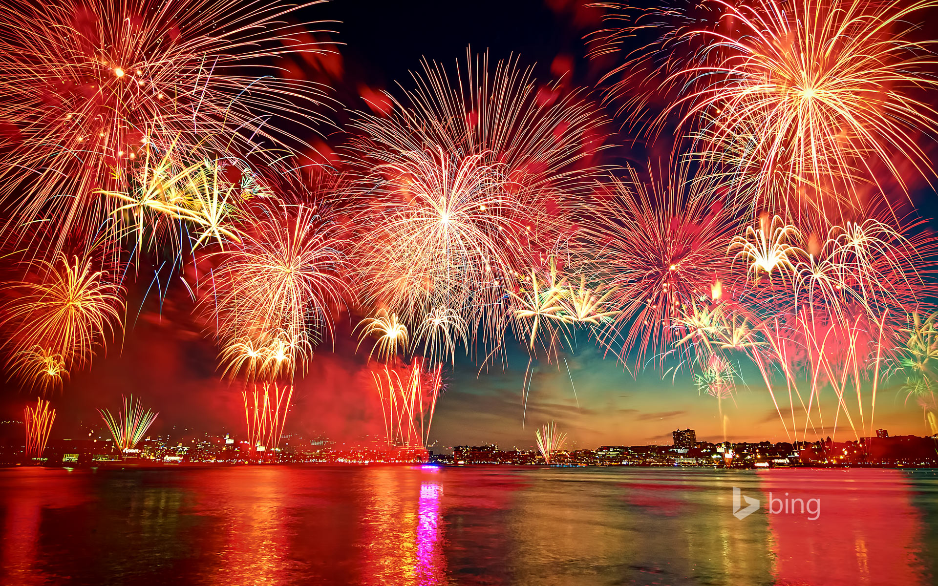 Fireworks display in New York City as seen over the Hudson River from Hoboken, New Jersey