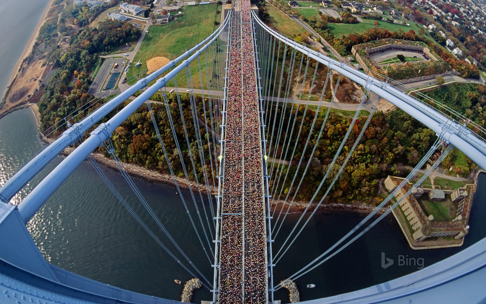 Runners on the Verrazano-Narrows Bridge between Staten Island and Brooklyn, New York
