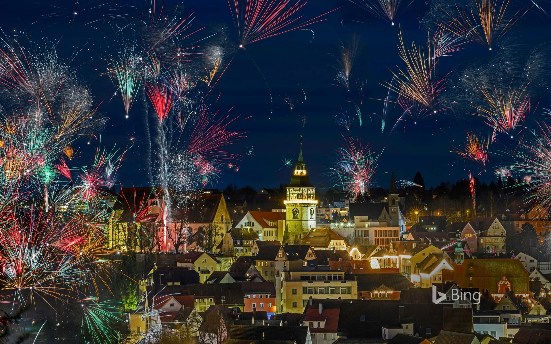 Fireworks for New Year's Eve in Backnang, Germany