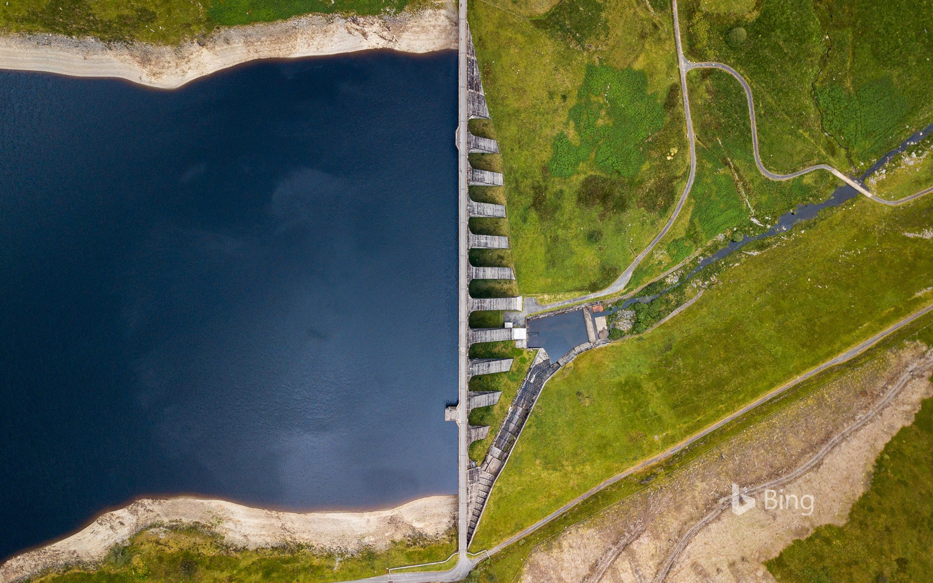 High angle view of Nant-y-Moch dam and reservoir, near Aberystwyth