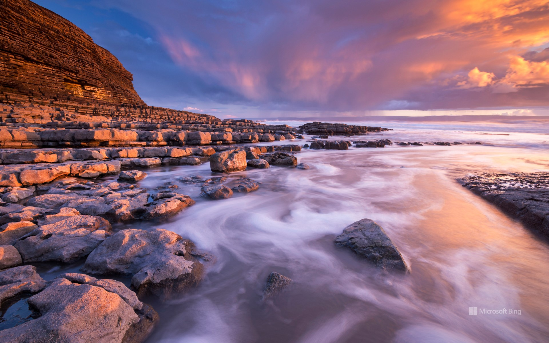 Sunset over Nash Point on the Glamorgan Heritage Coast, South Wales in winter.