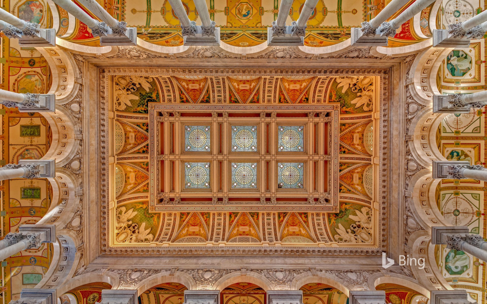 Ceiling and cove of the Great Hall at the Library of Congress in Washington, DC