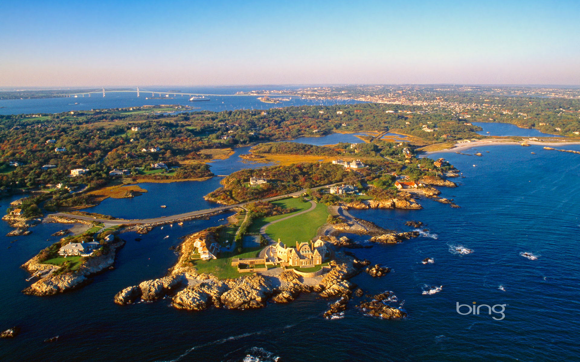 Aerial view of Ocean Drive in Newport, Rhode Island