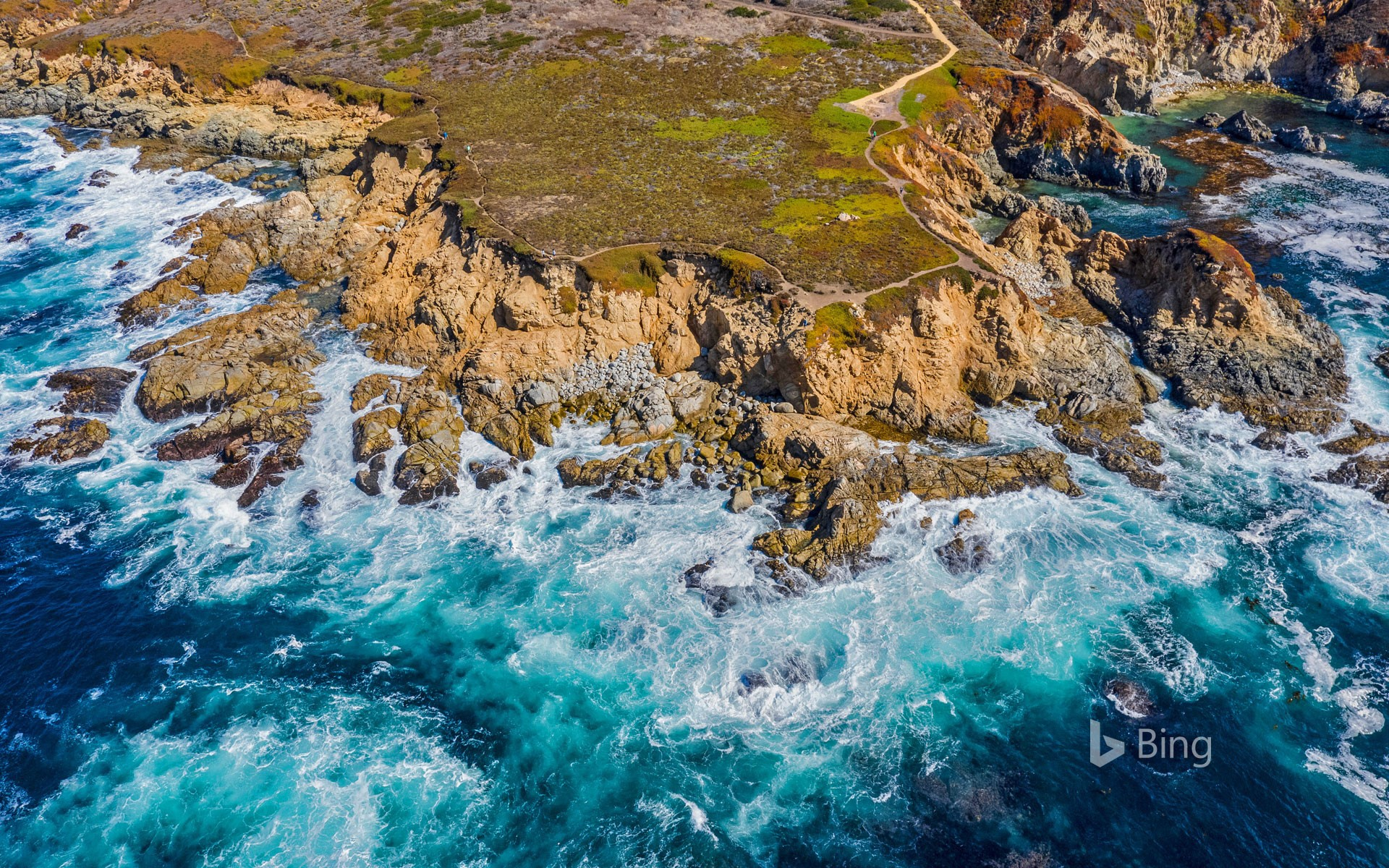 Aerial view of the Big Sur coastline near Monterey, California