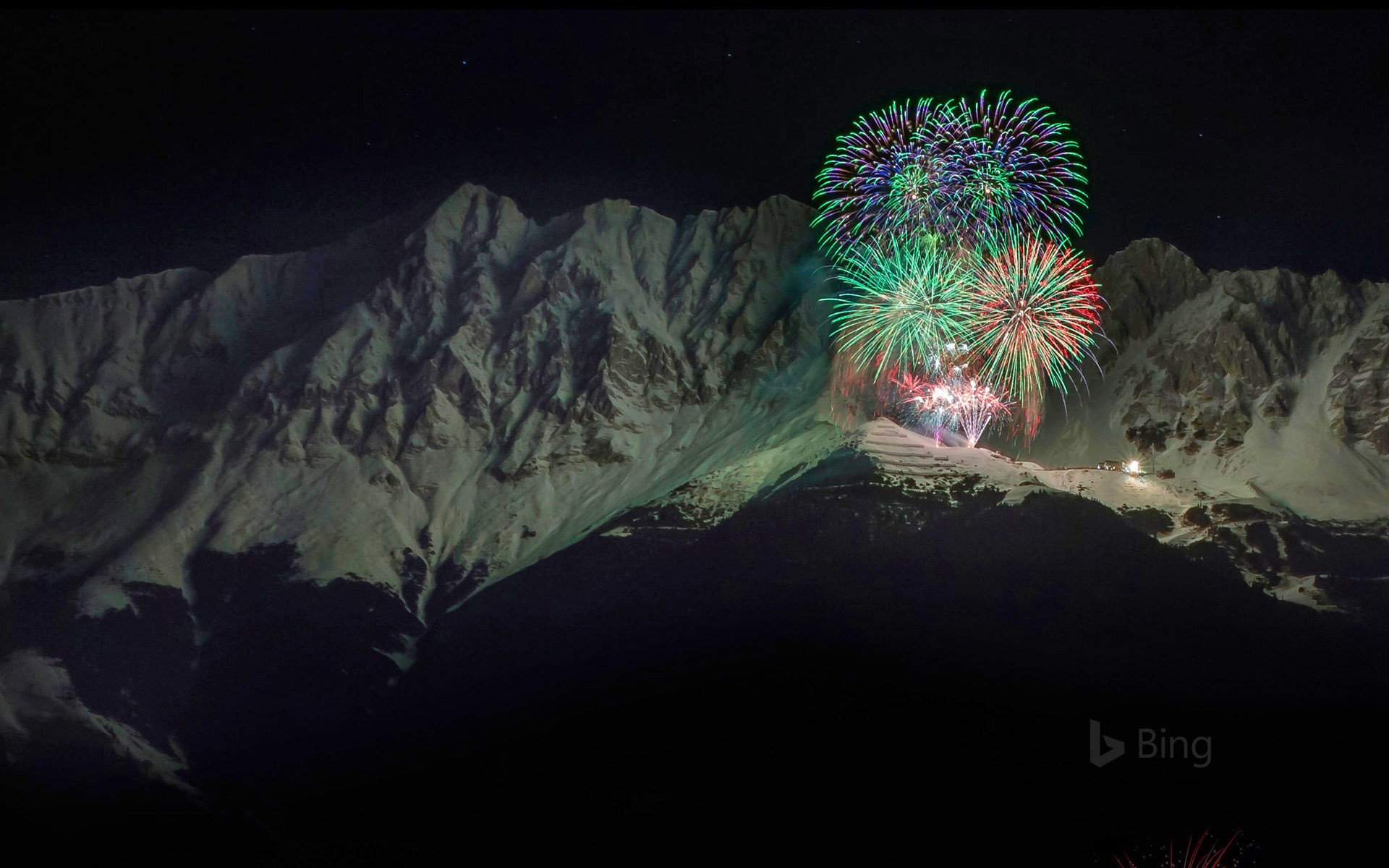 New Year's Eve fireworks in the Nordkette mountain range, Austria