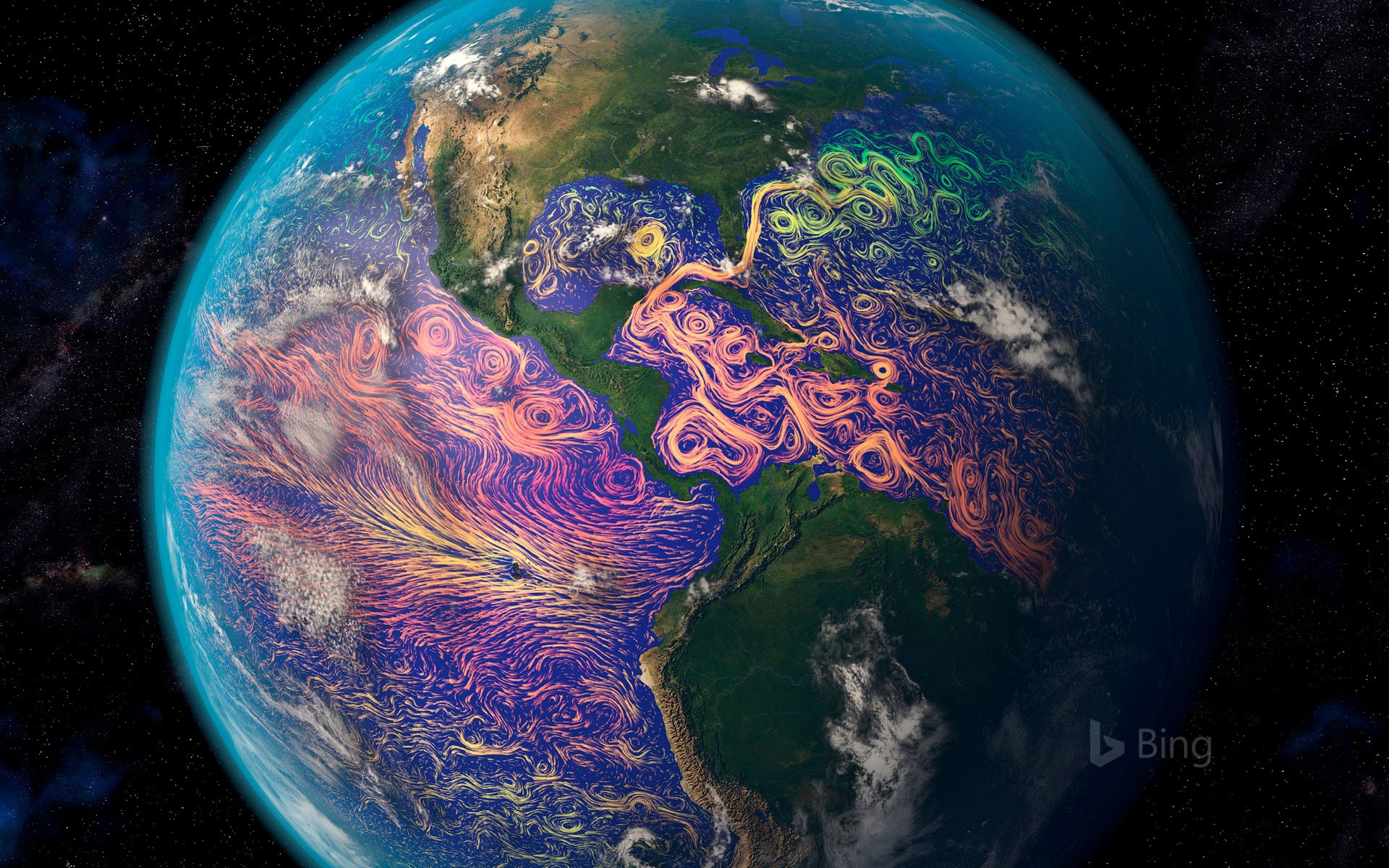 Satellite-based graphic showing ocean currents off the Americas