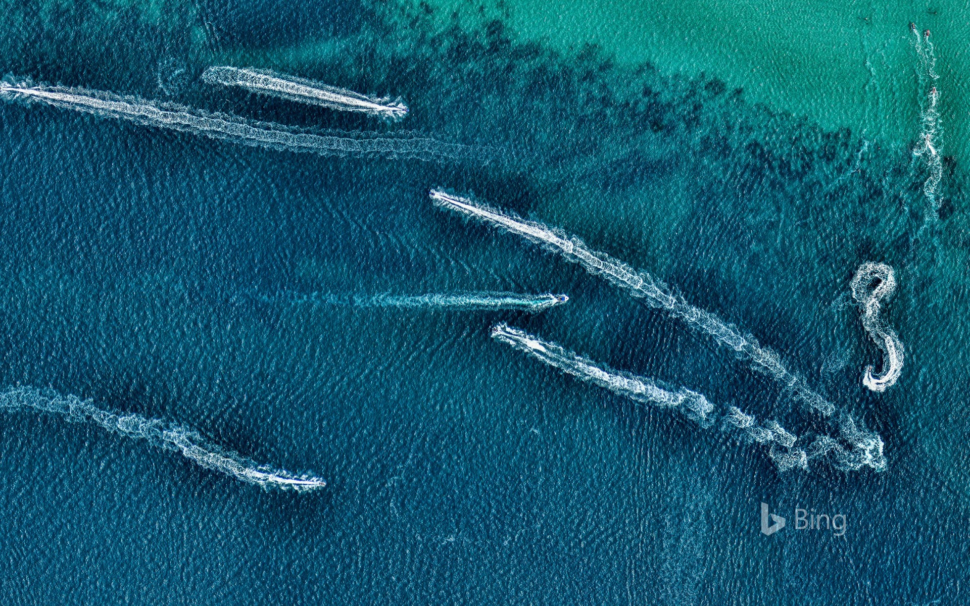 Aerial view of jet skis in the ocean, Australia