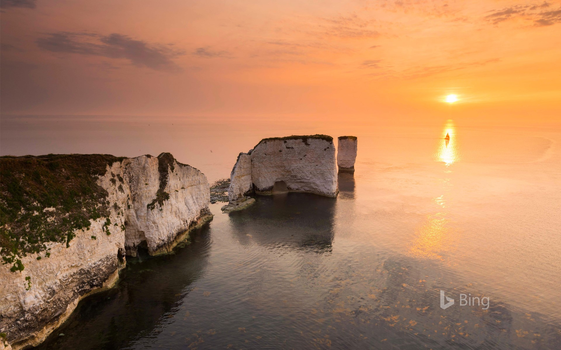 Sunrise at the chalk pinnacles of Old Harry Rocks, near Studland, Dorset