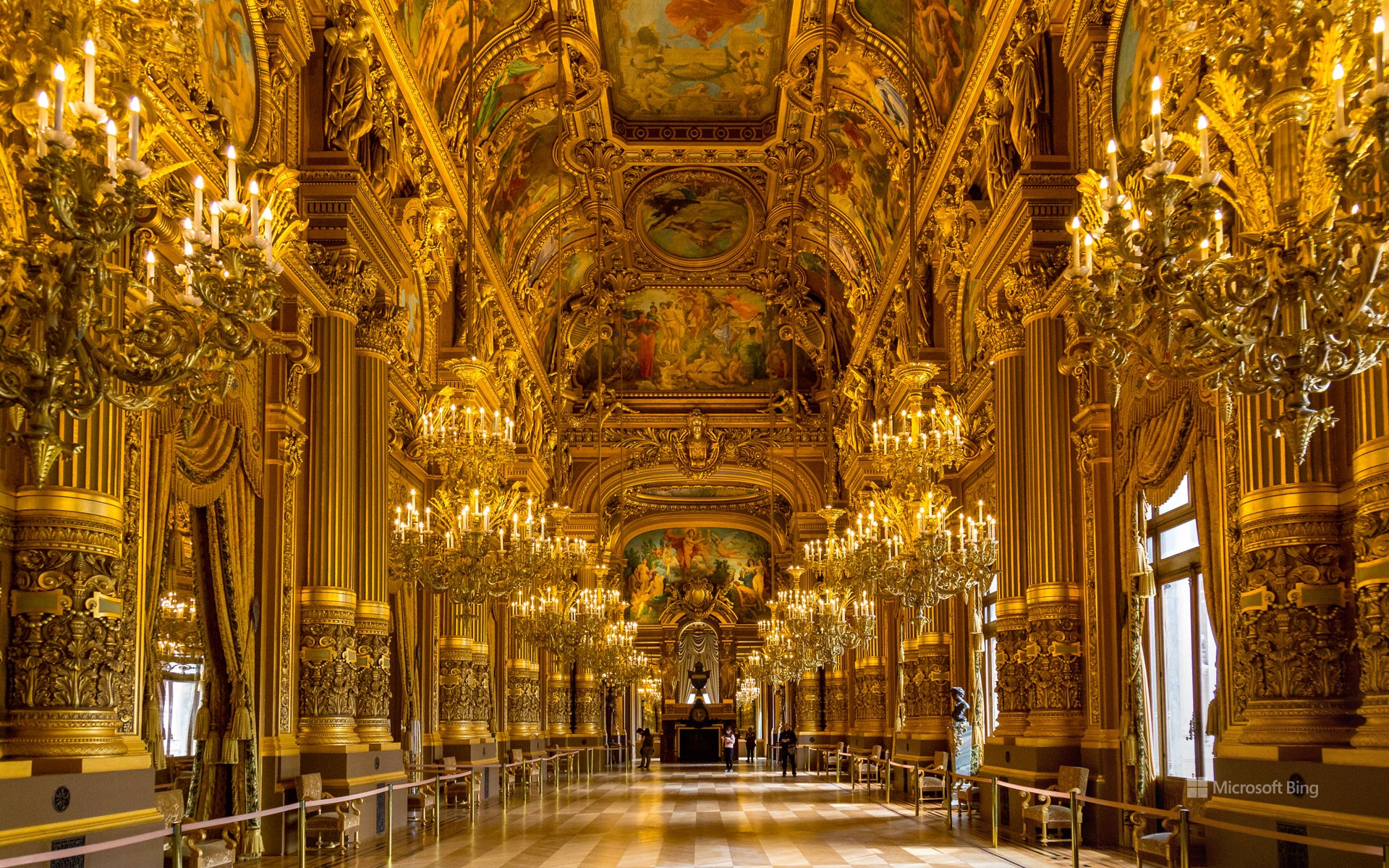 Interior view of the Opéra national de Paris Garnier taken on March 31, 2017, Paris