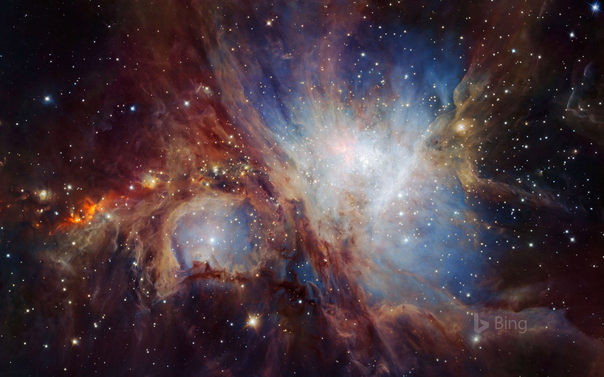 An infrared image of the Orion Nebula taken from the HAWK-I camera in Chile (© NASA)