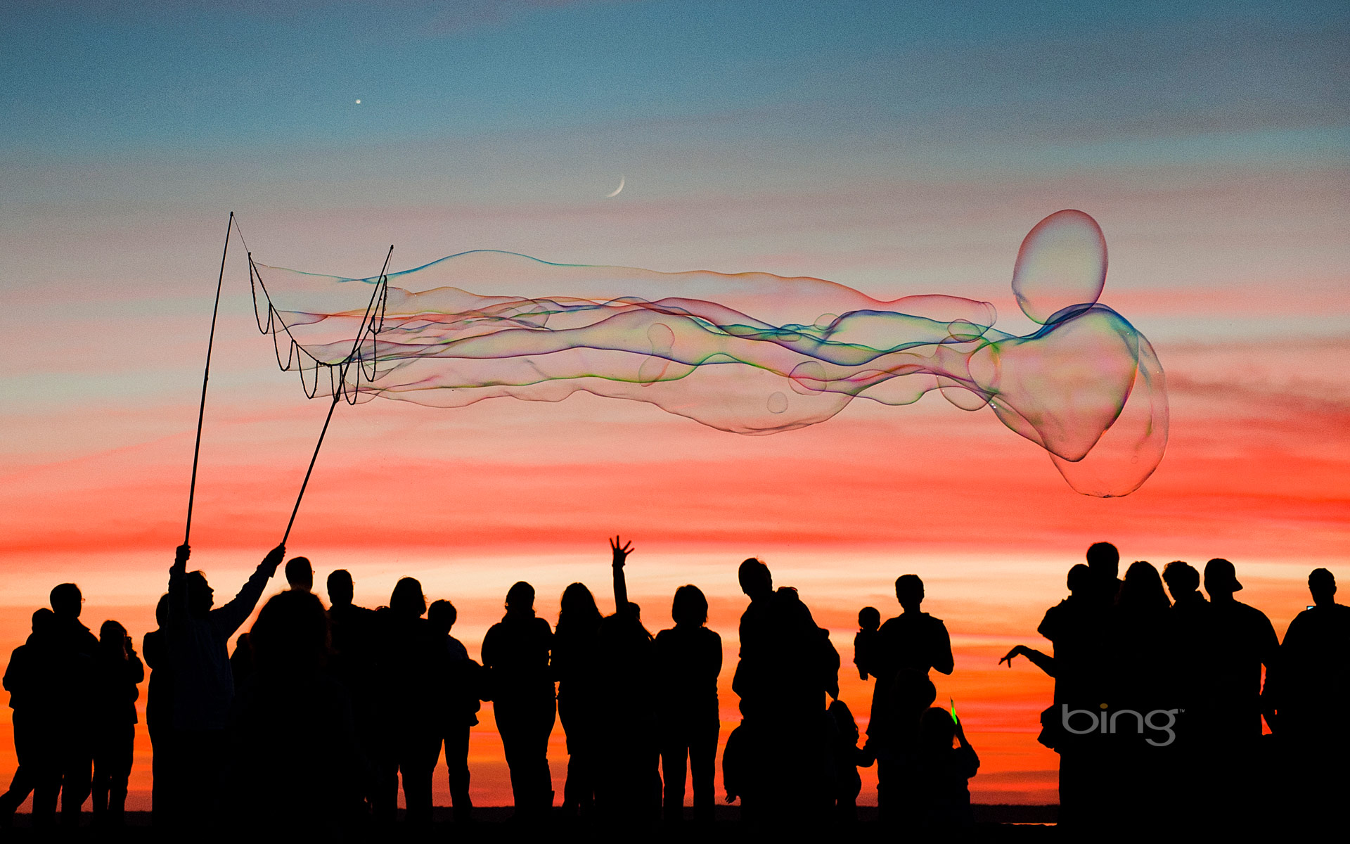 Large bubbles at sunset, Jockey's Ridge, Outer Banks, North Carolina
