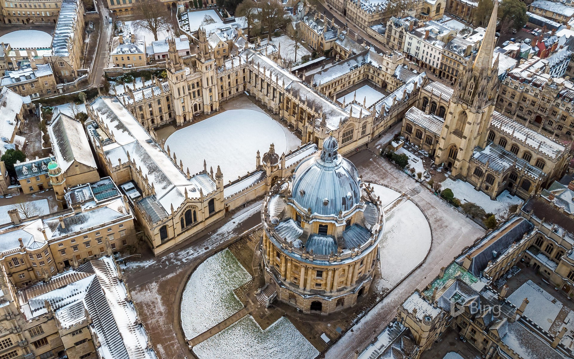 Aerial view of central Oxford, England
