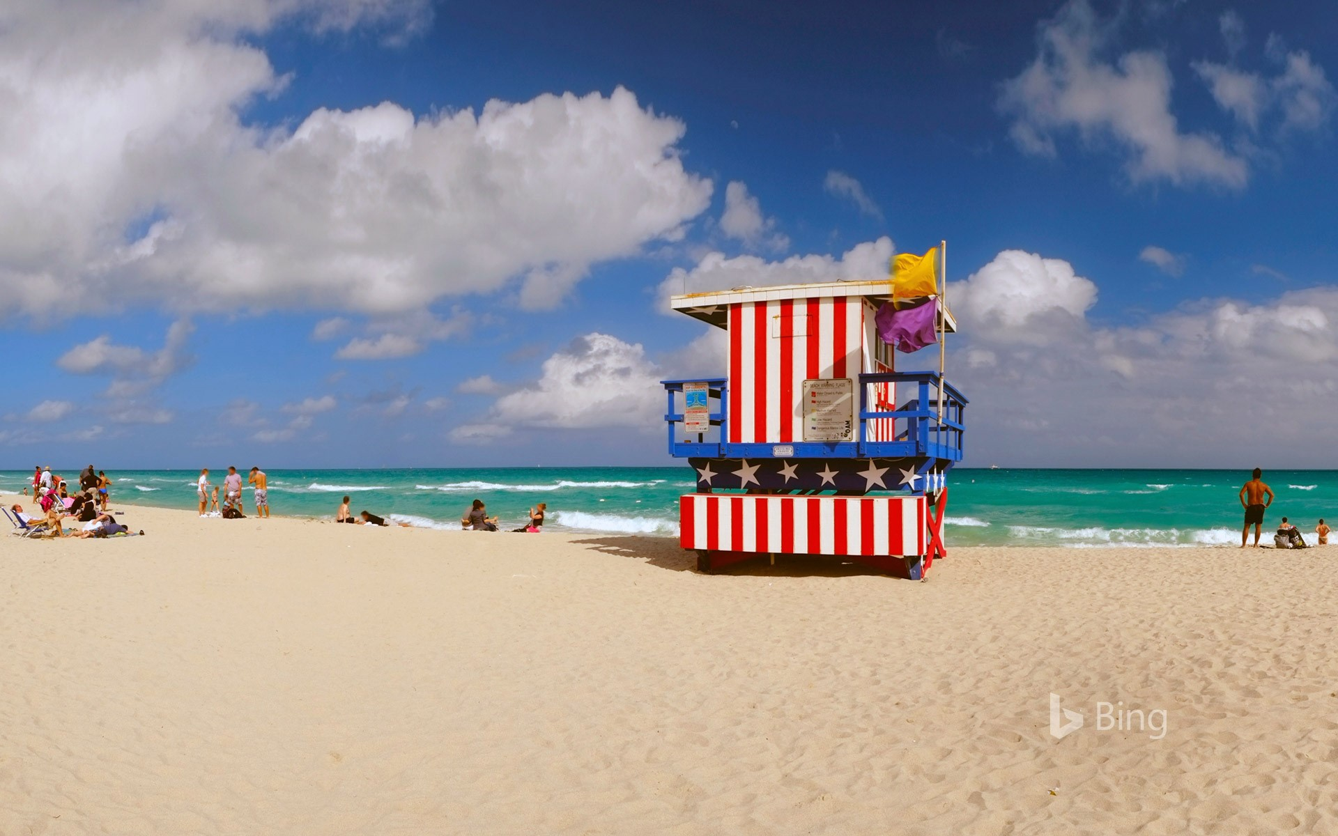 Lifeguard station at Lummus Park in South Beach, Miami, Florida