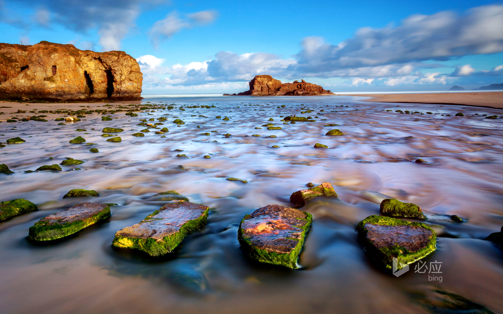 The stepping stones on Perranporth beach, Cornwall, England