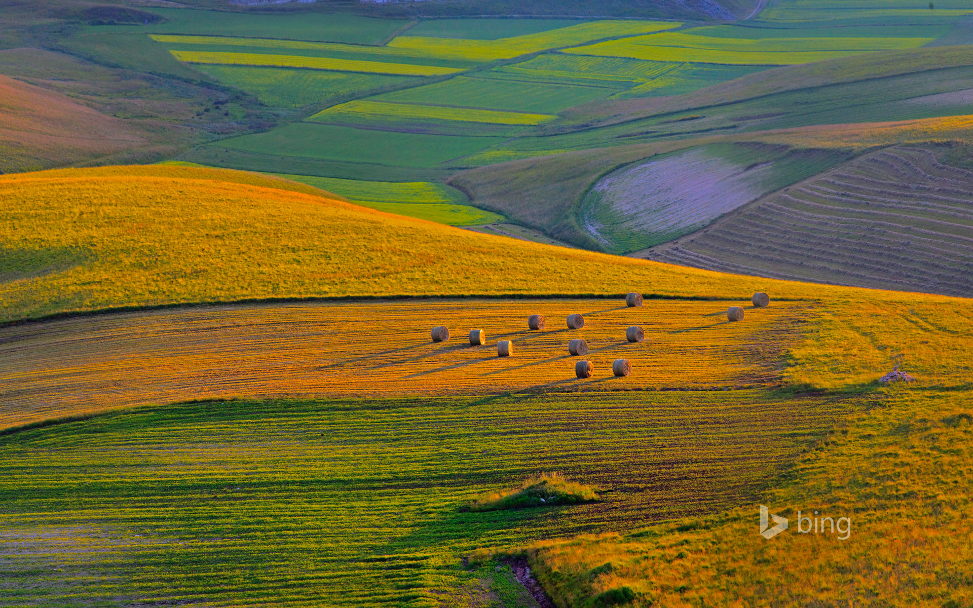 Sunset on Pian Grande plateau, Perugia district, Italy