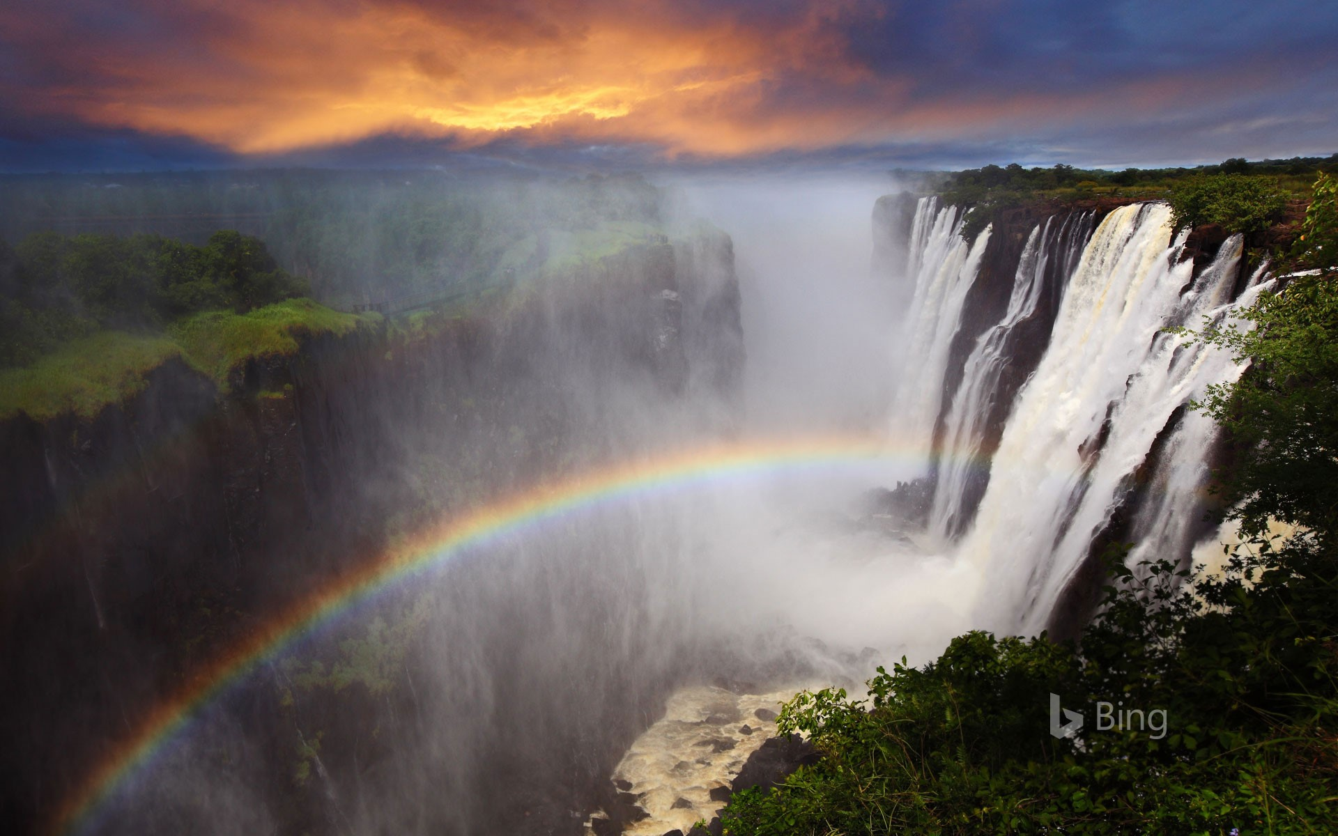 Rainbow at Victoria Falls in Zambia
