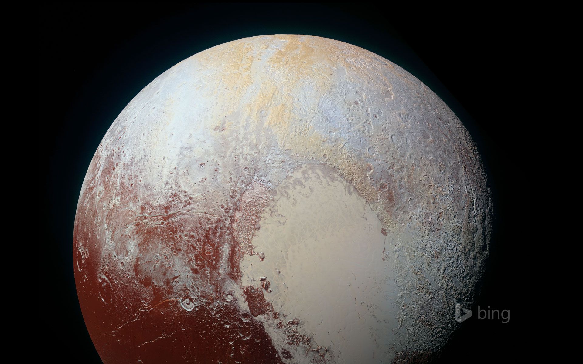 A colour-enhanced photo of Pluto, taken by NASA's New Horizons spacecraft