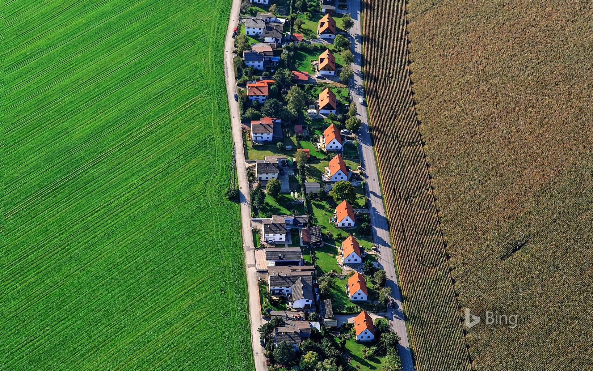 Aerial view of Poing, Bavaria, Germany