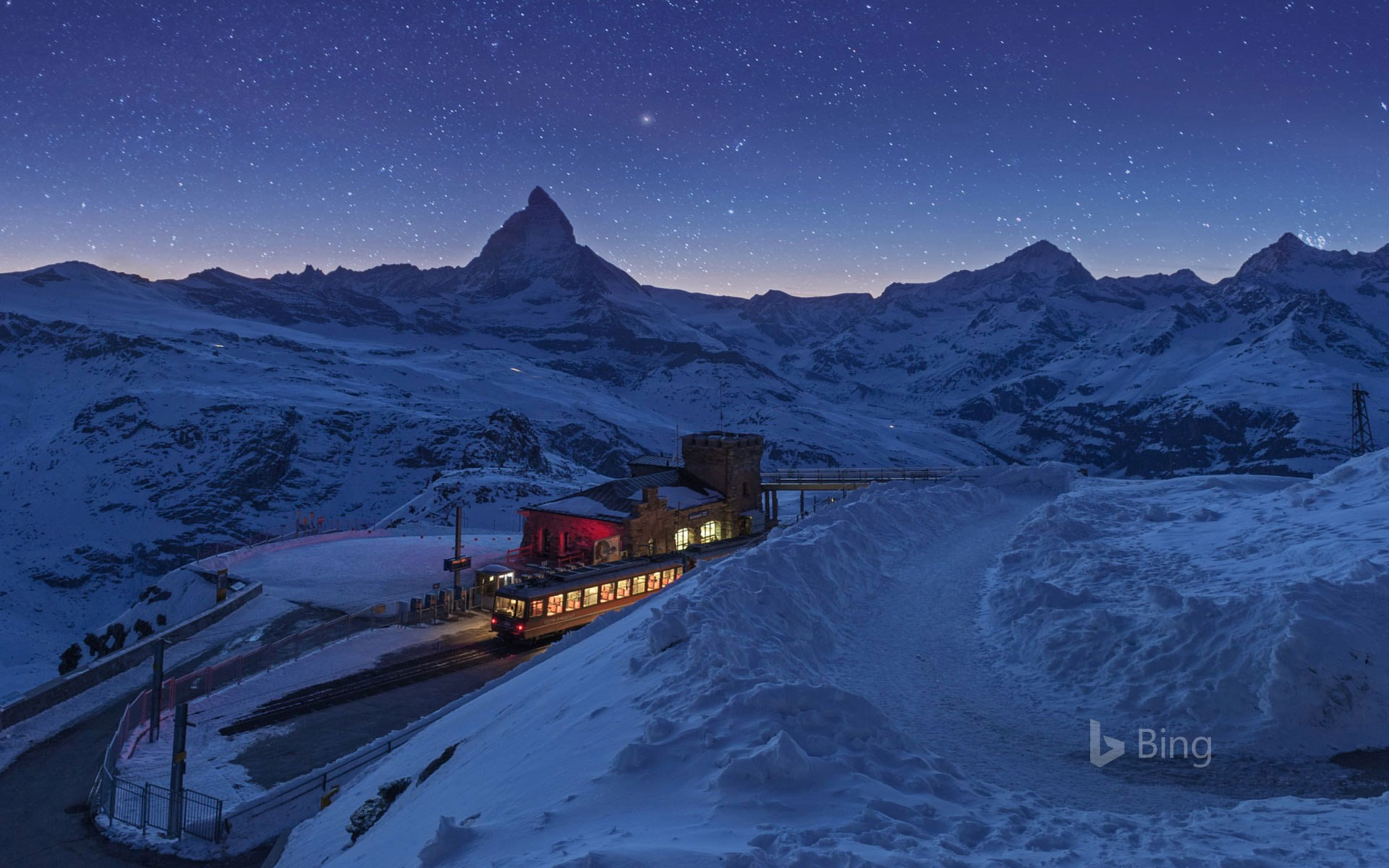 Gornergrat railway station and the Matterhorn in Zermatt, Switzerland