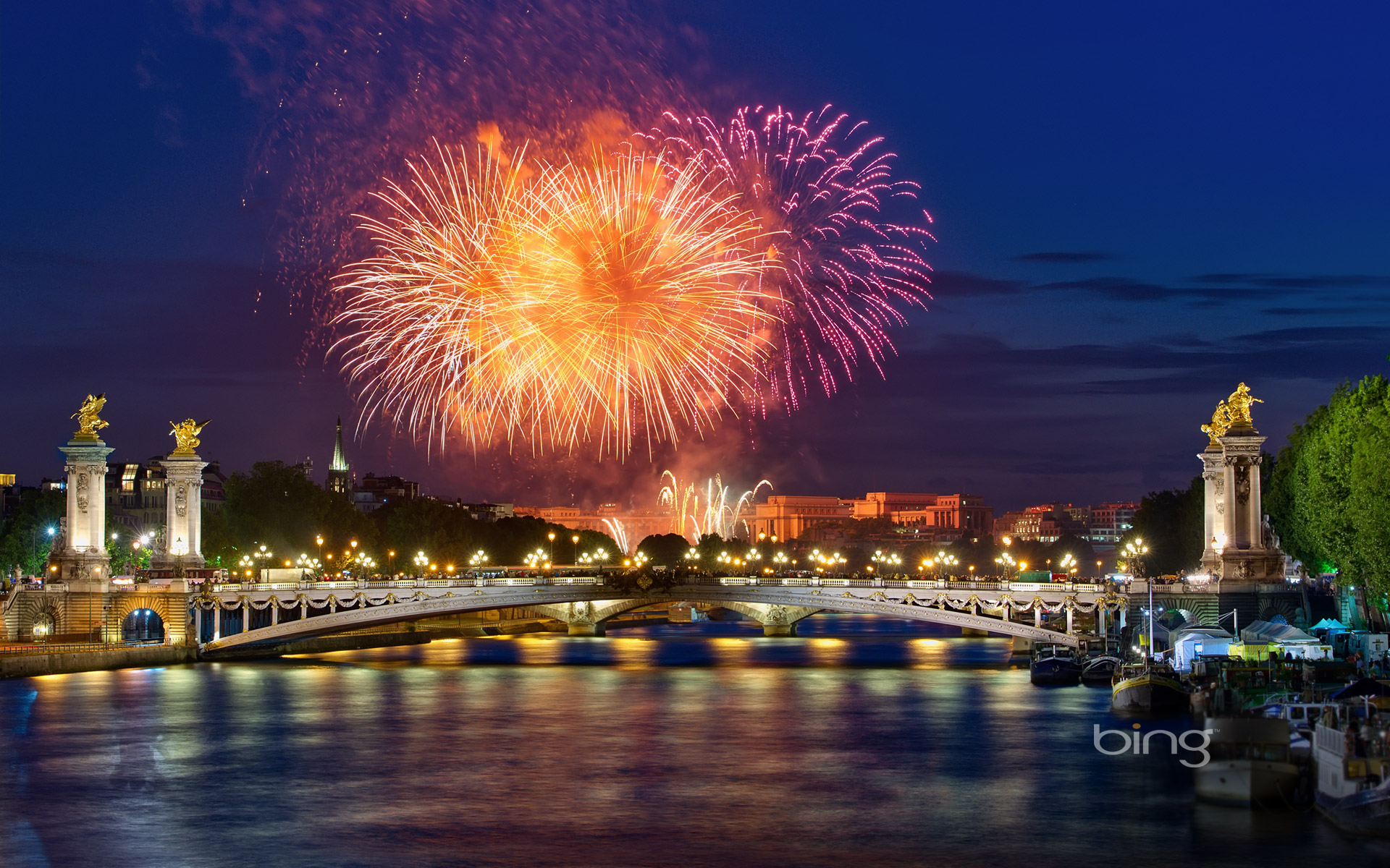 fireworks over pont alexandre iii in paris france ag photographegetty images