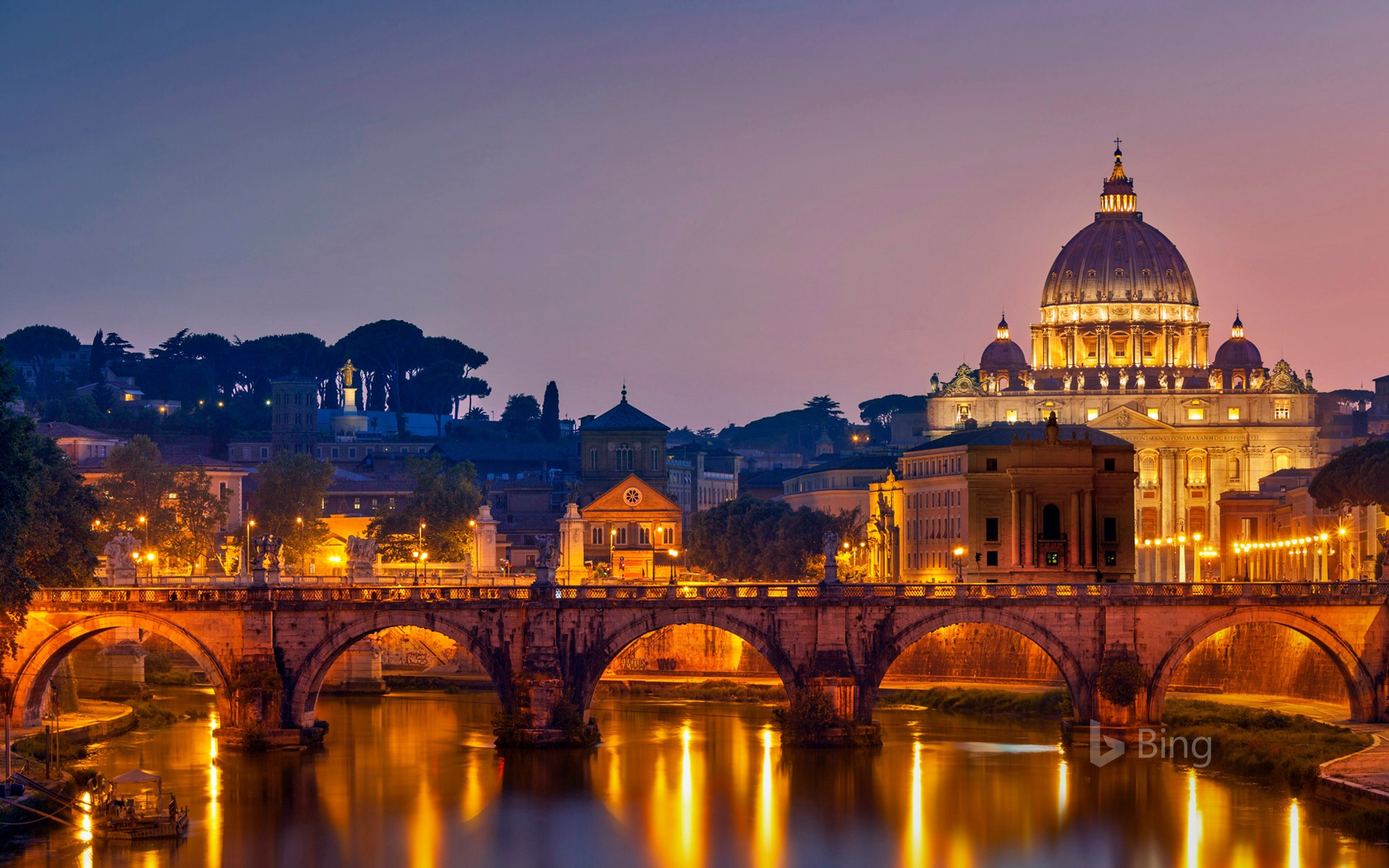 Ponte Sant'Angelo and St. Peter's Basilica in Rome, Italy
