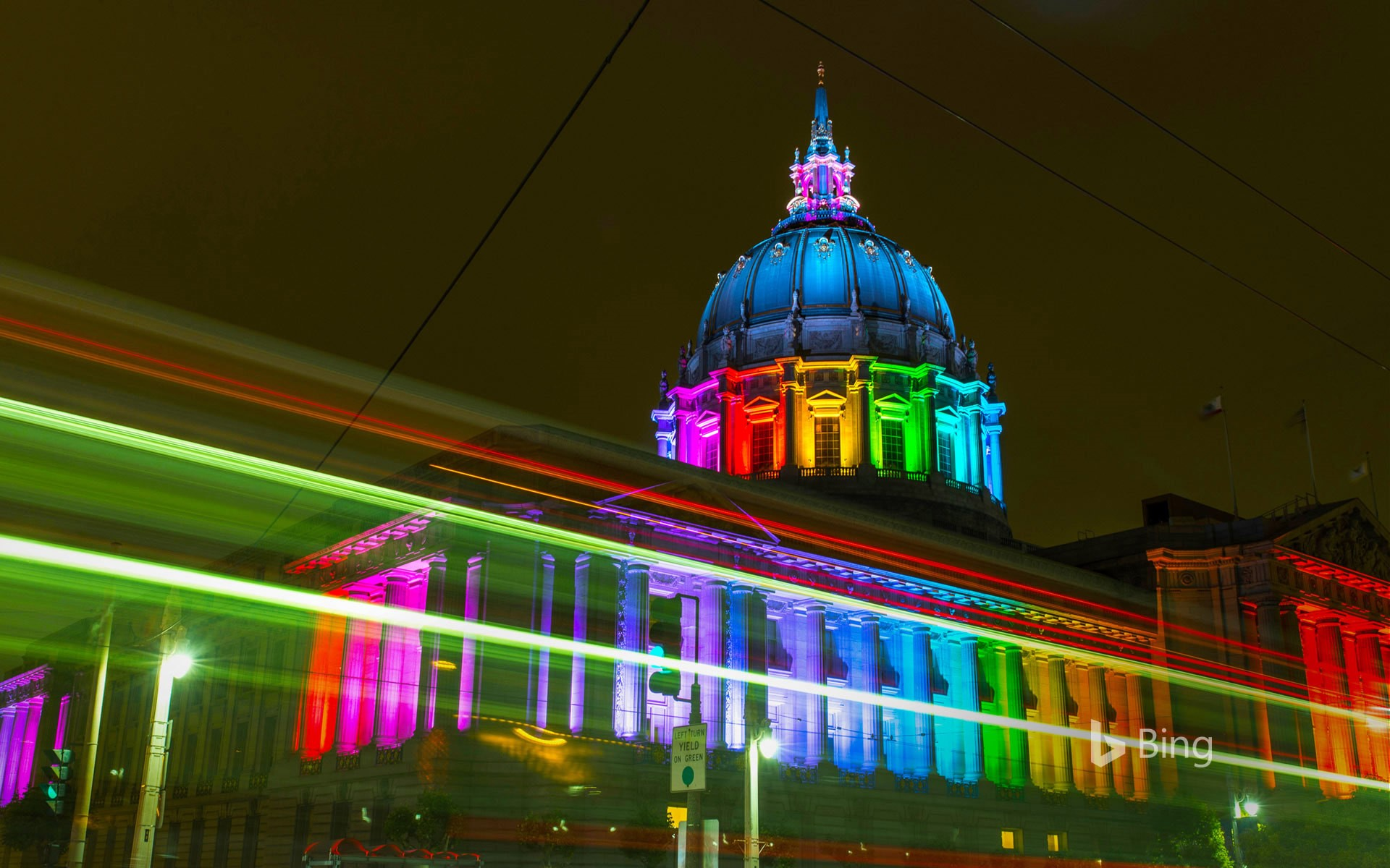 San Francisco City Hall lit with rainbow lights for Pride