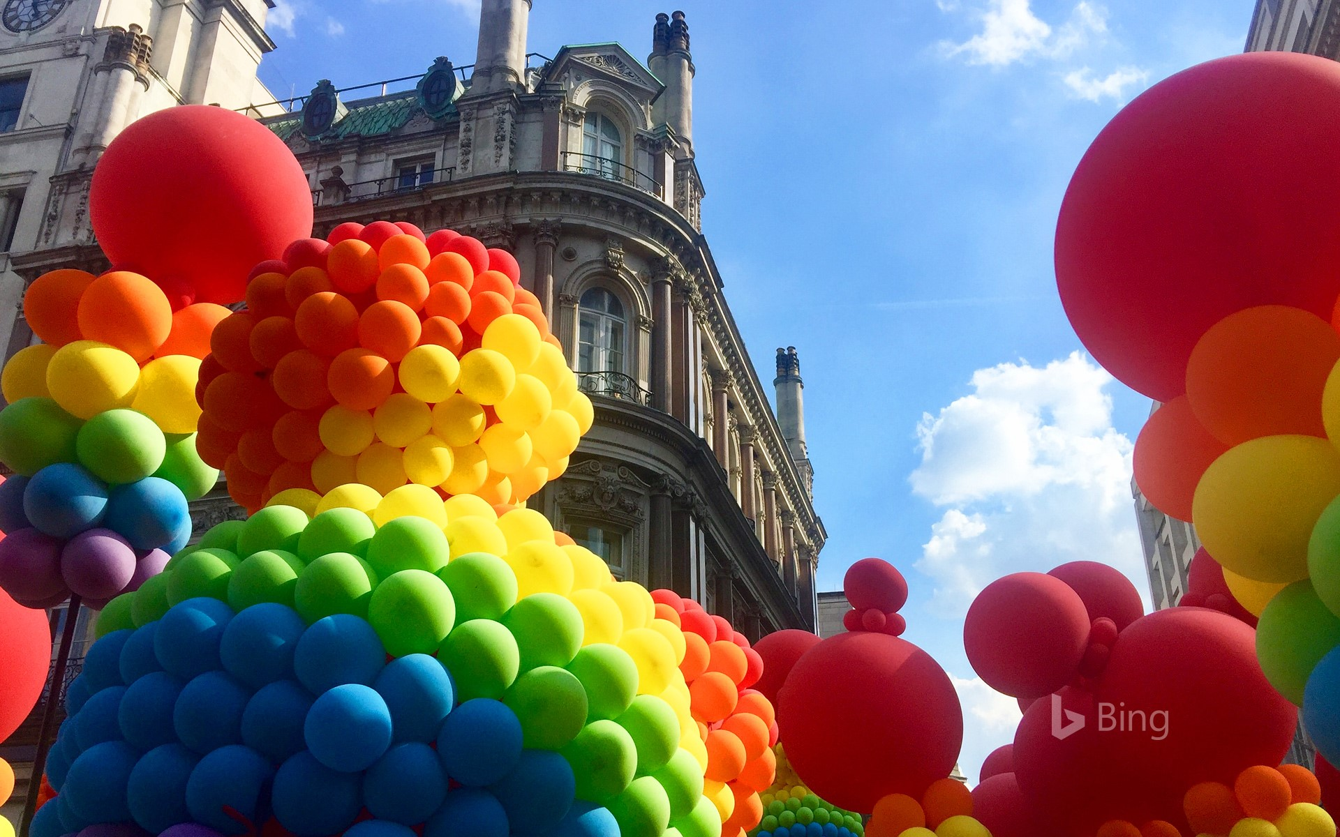 Rainbow-coloured balloons at the Pride in London parade (© darko m/Shutterstock)