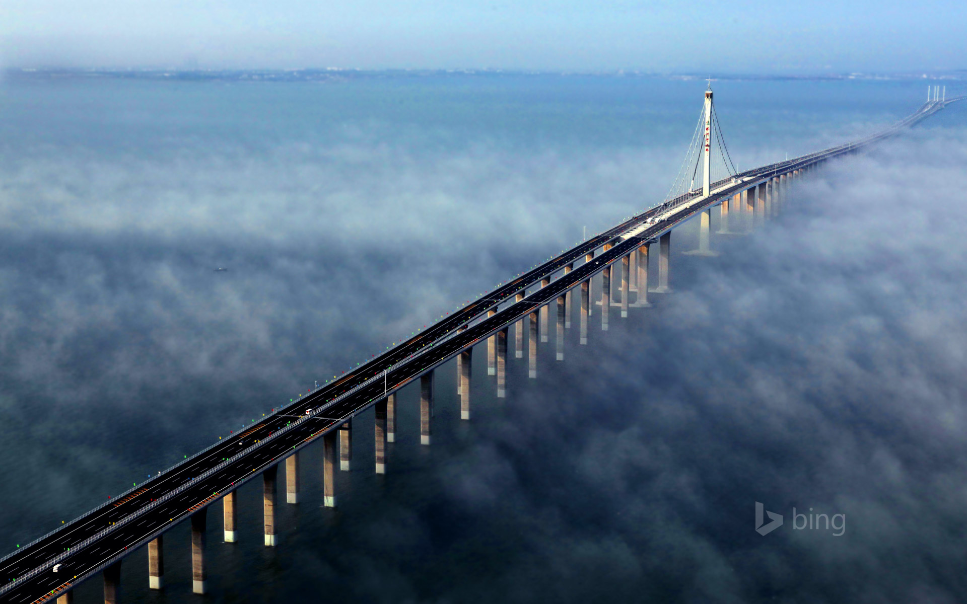 Aerial view of Jiaozhou Bay Bridge in Qingdao, east China's Shandong Province