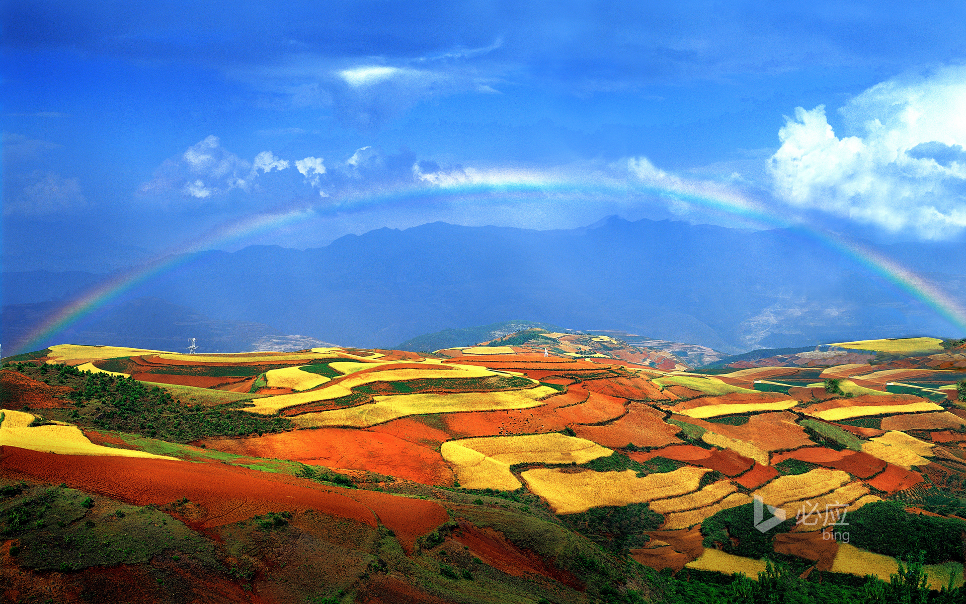 Rainbow over red land