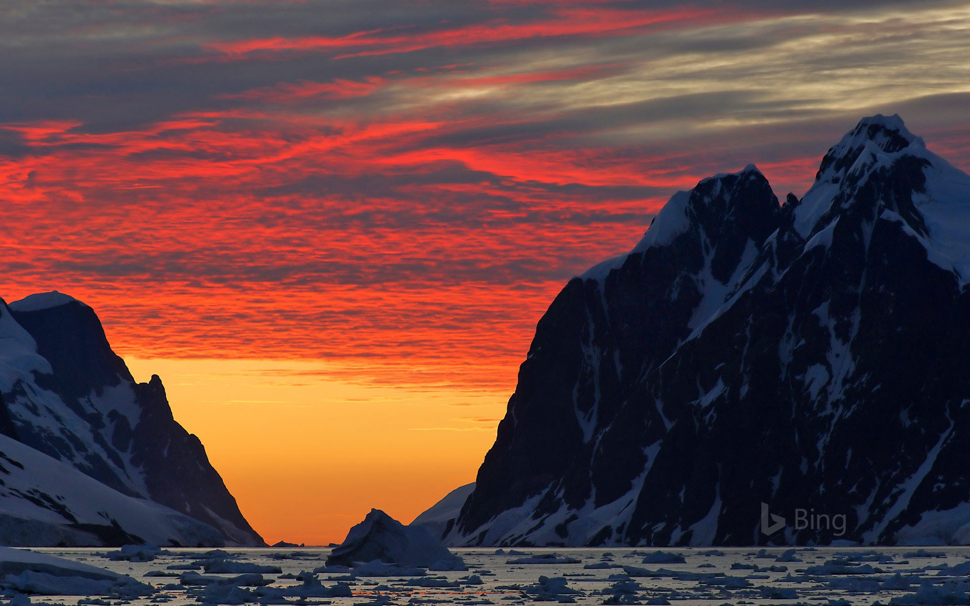 Coastline at sunset, Antarctic Peninsula, Antarctica