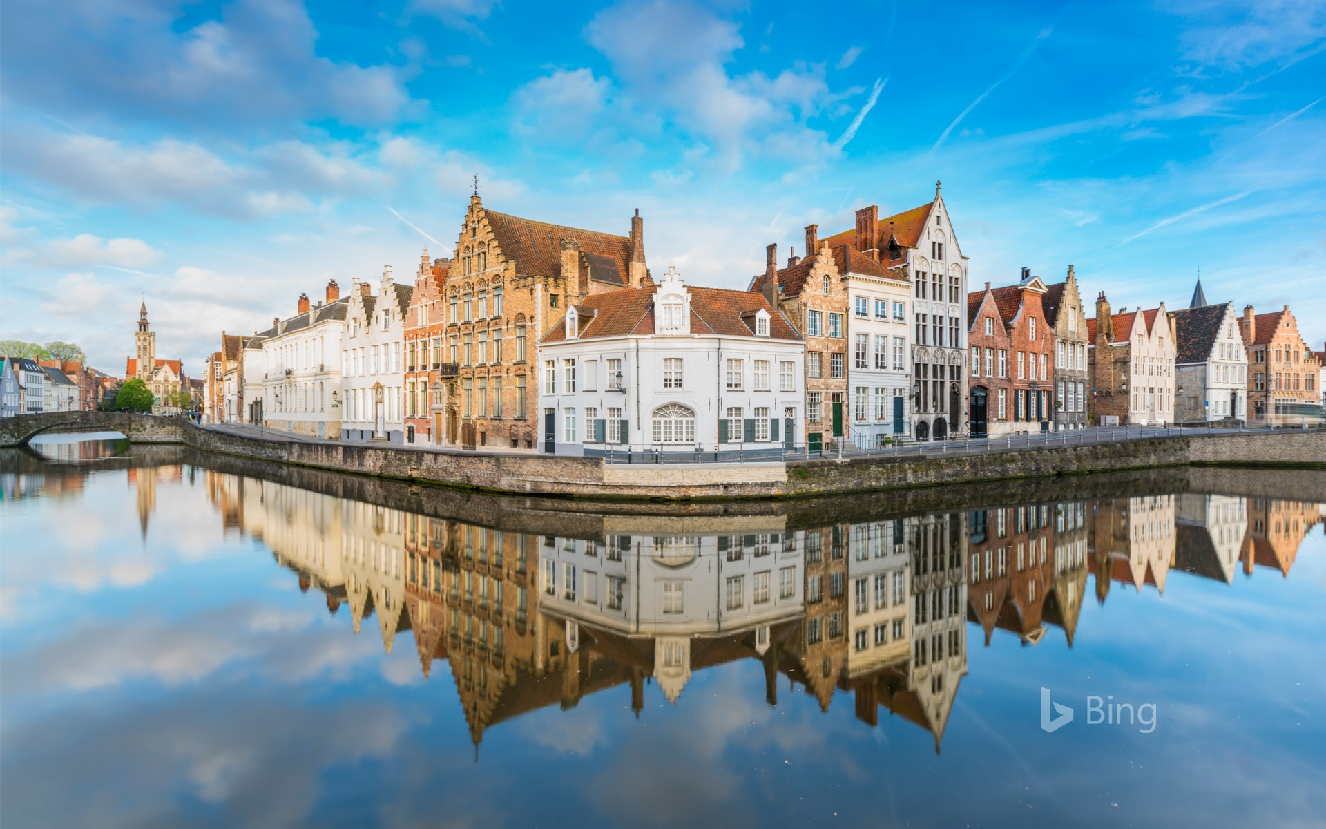 Buildings reflected on the canals of Bruges, Belgium