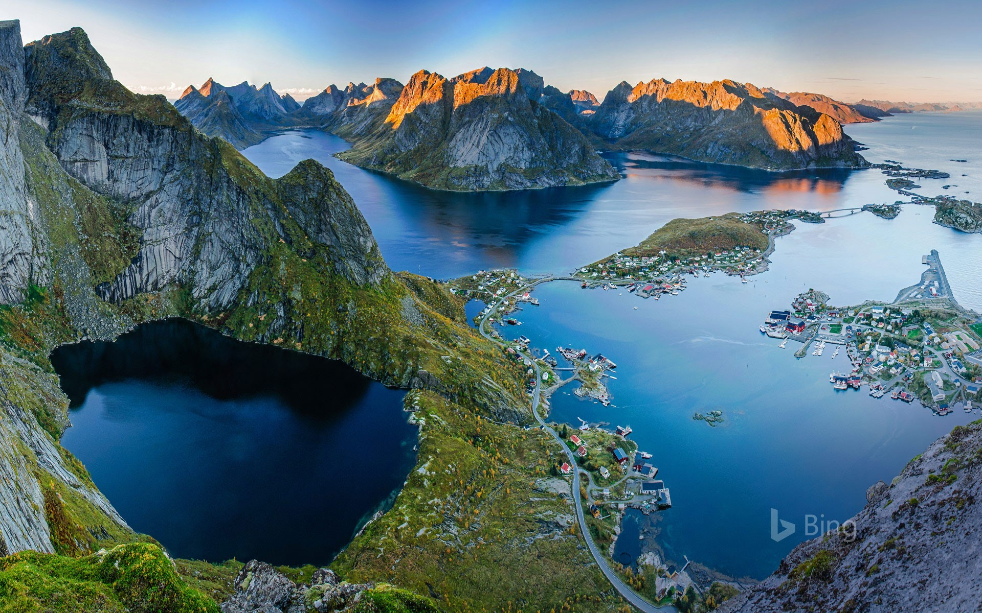 The view from Reinebringen ridge at the village of Reine on Moskenesøya, Norway